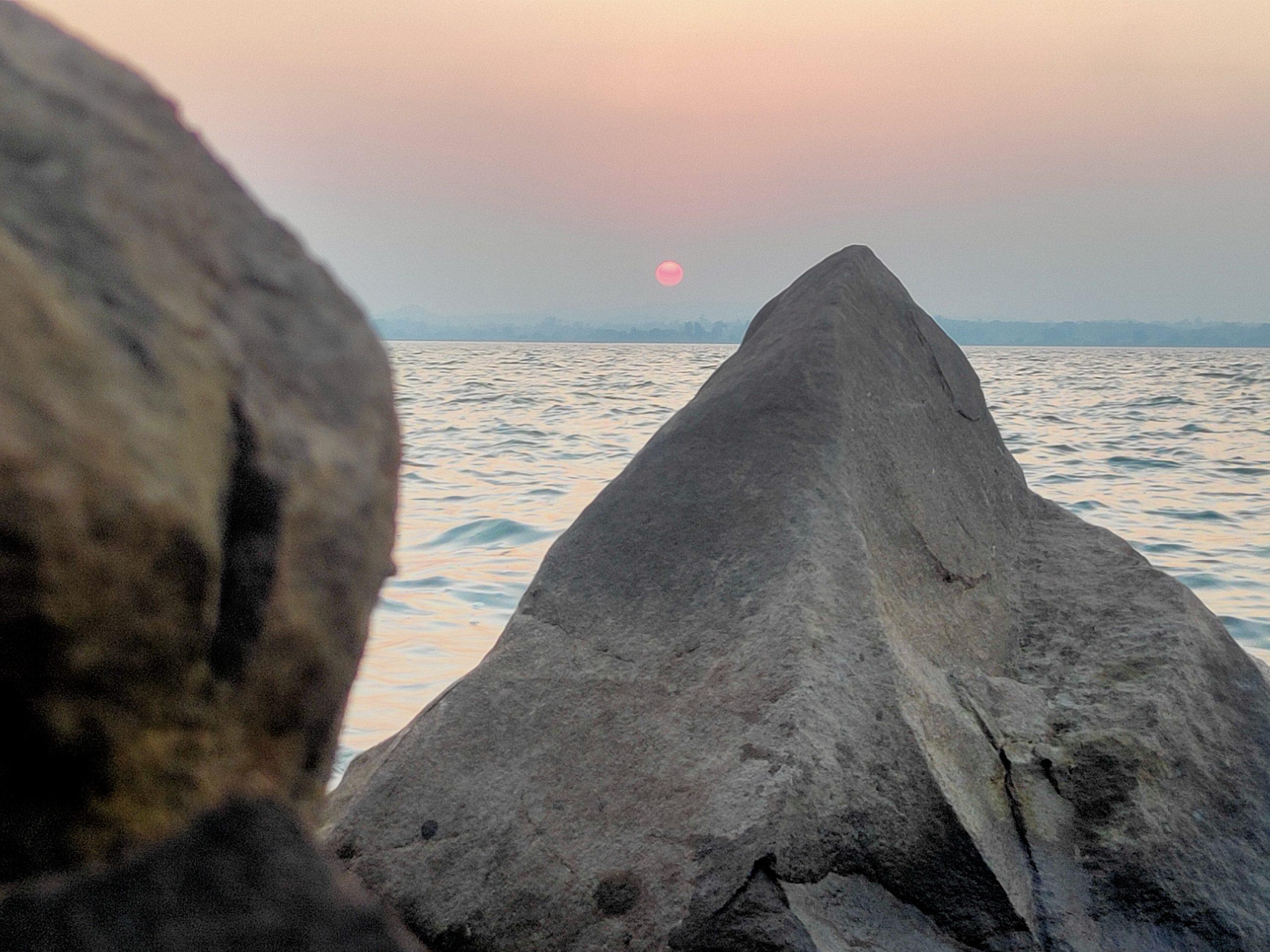 A sharp rock on a beach