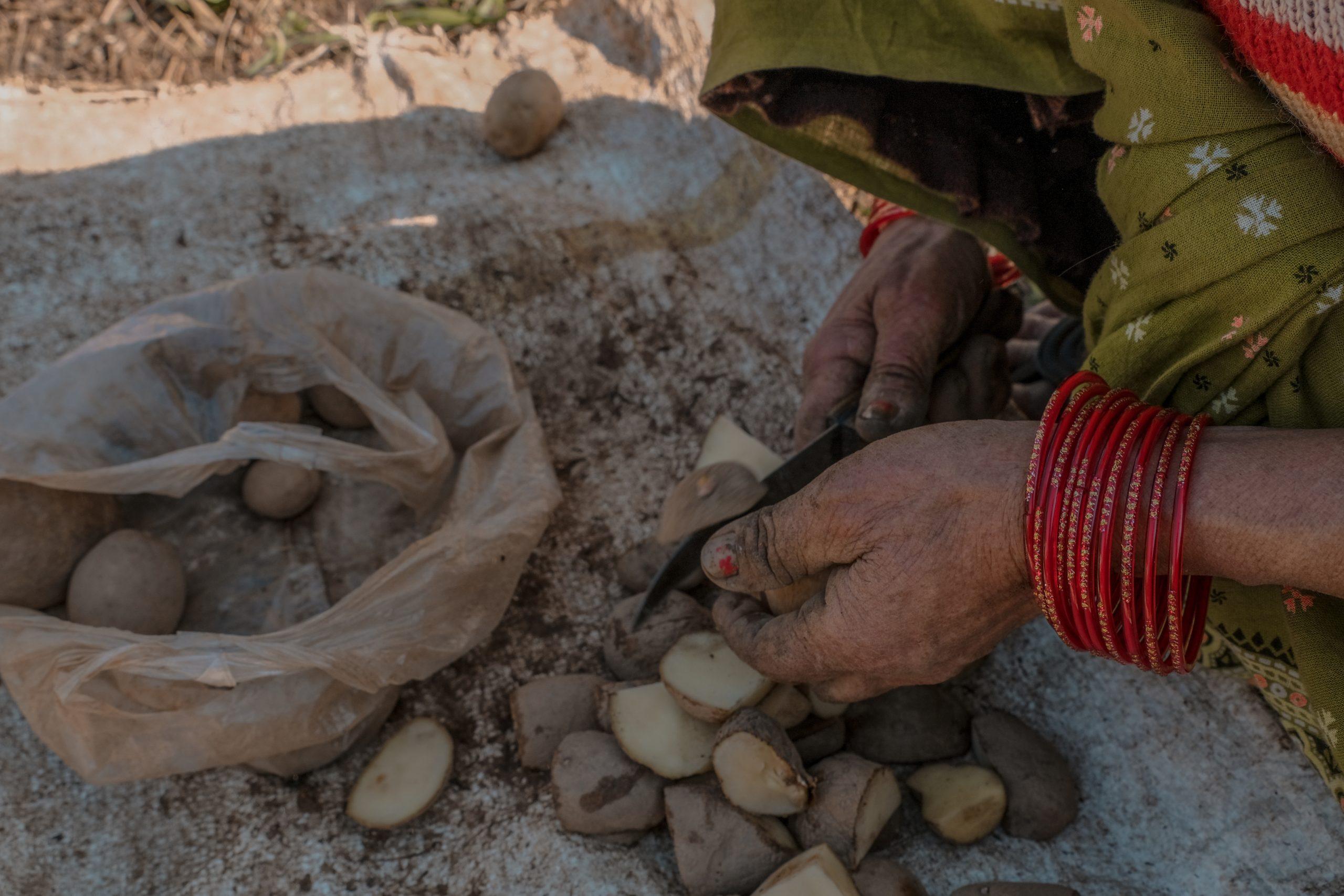 A village woman cutting potatoes