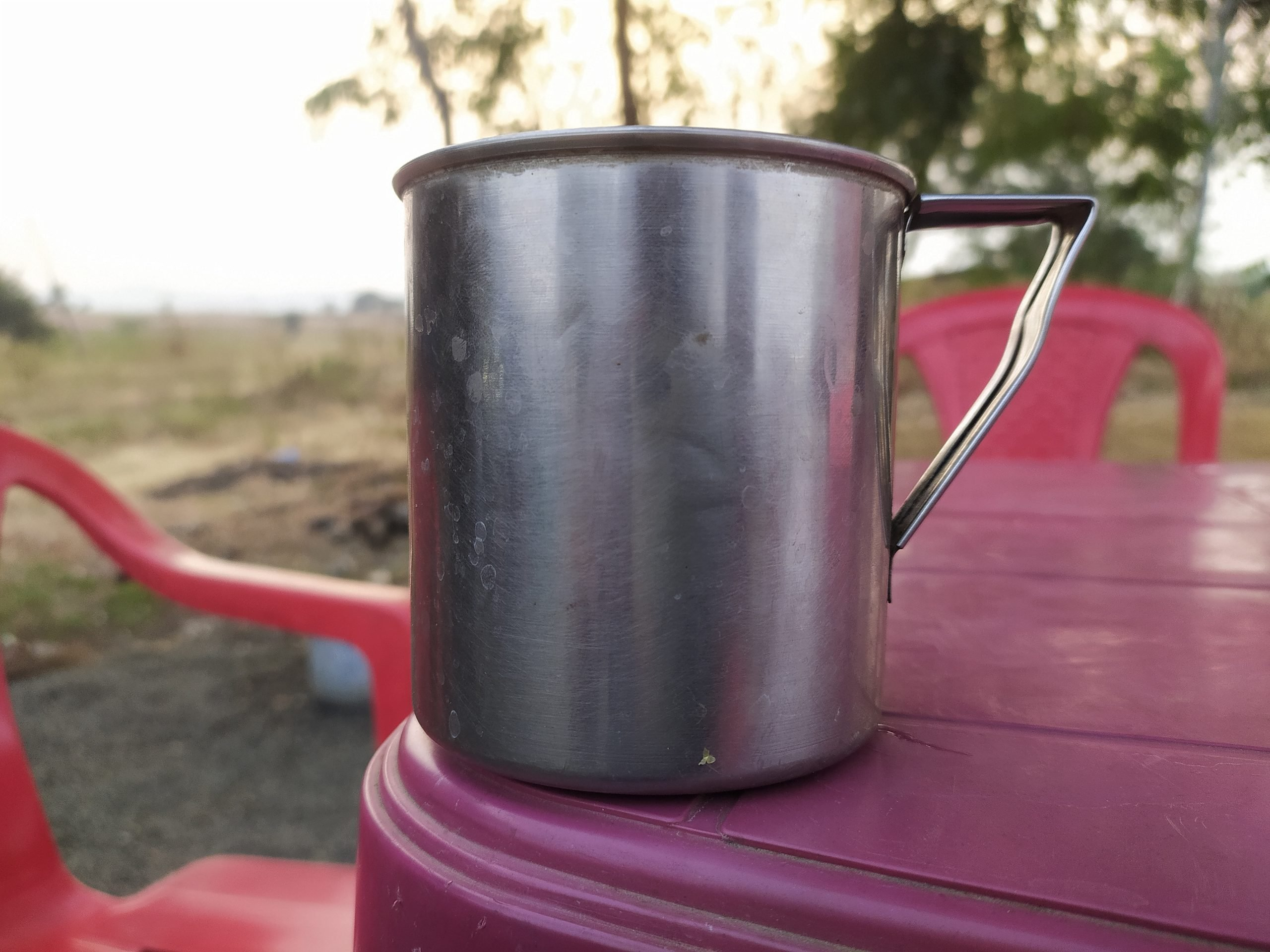 A steel mug