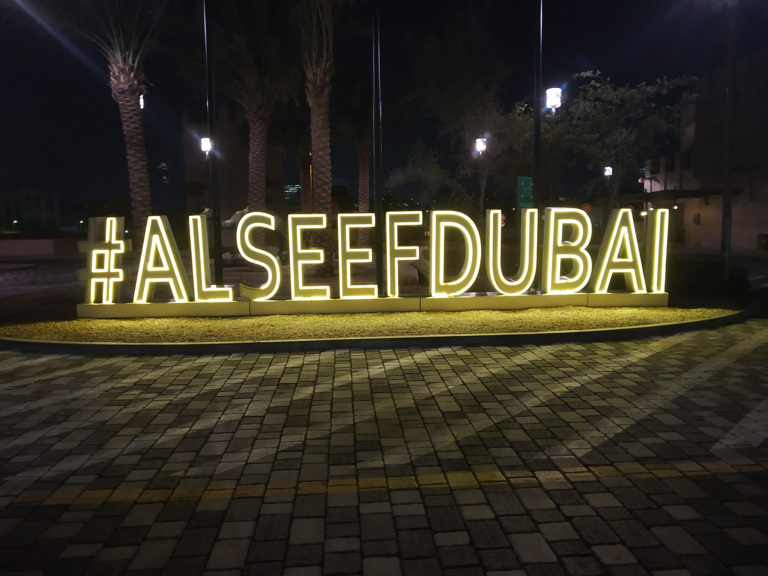 Lighting of a signage in Dubai