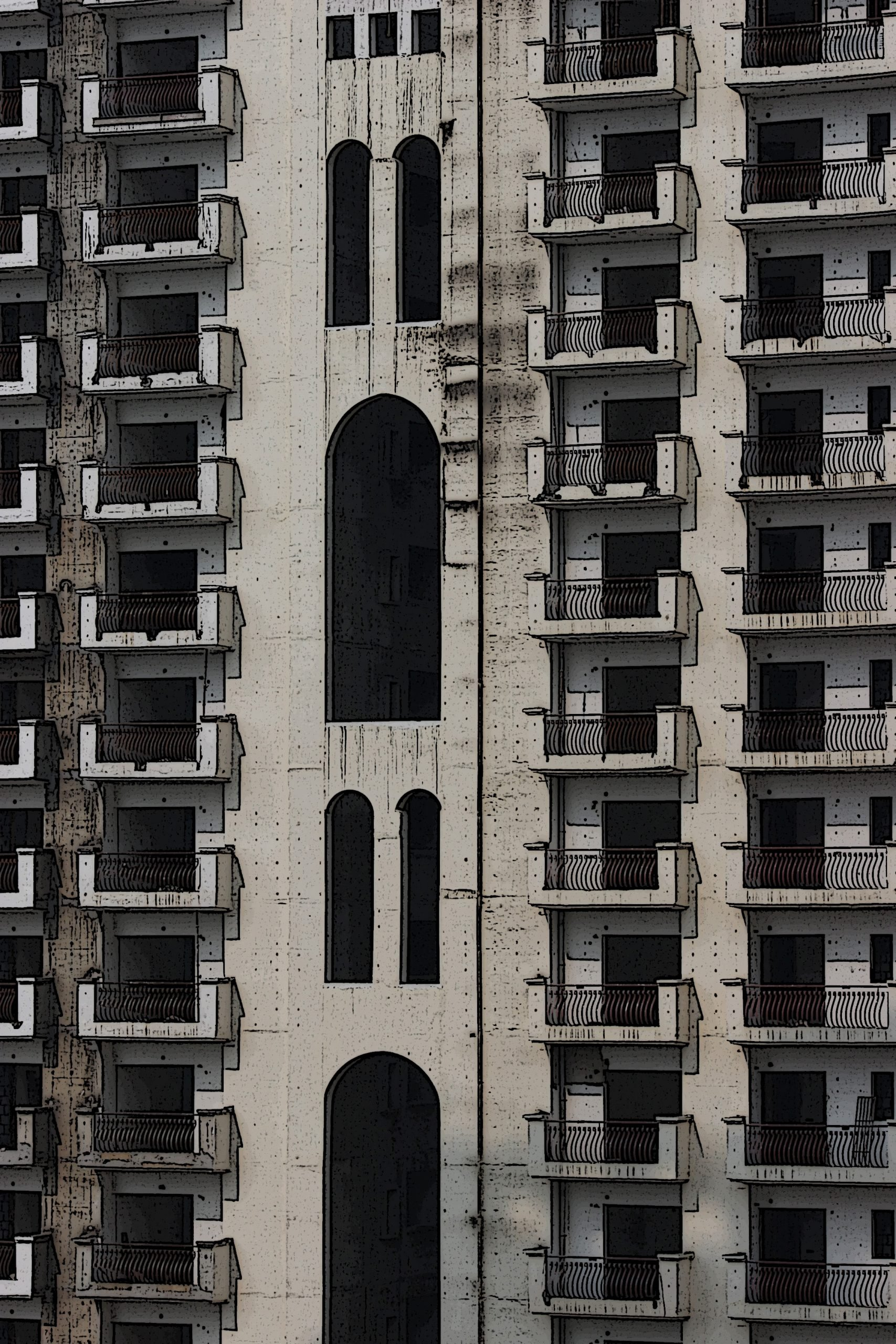 Portrait of apartments in a building