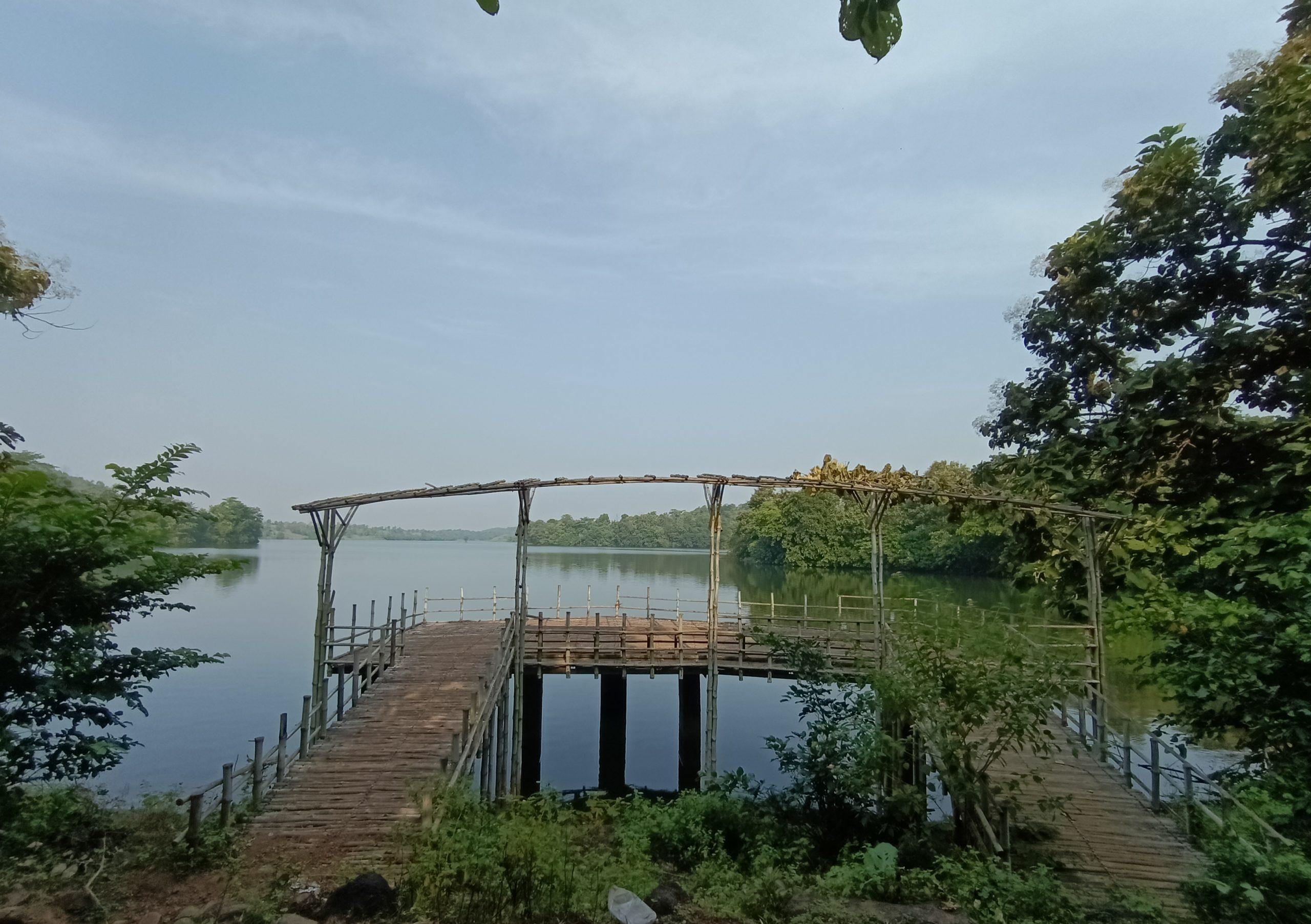Wooden bridge near lake