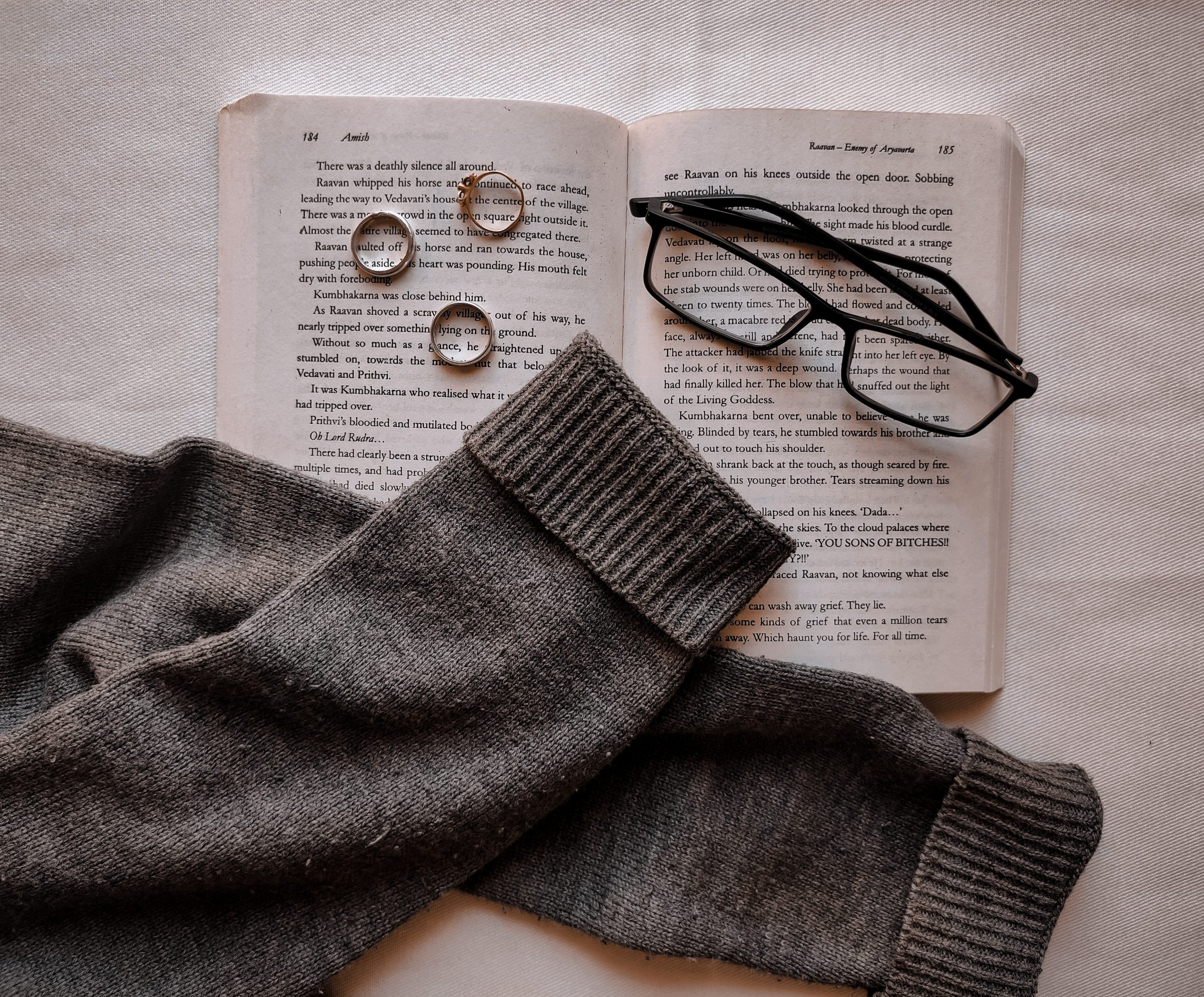 A book and sweater