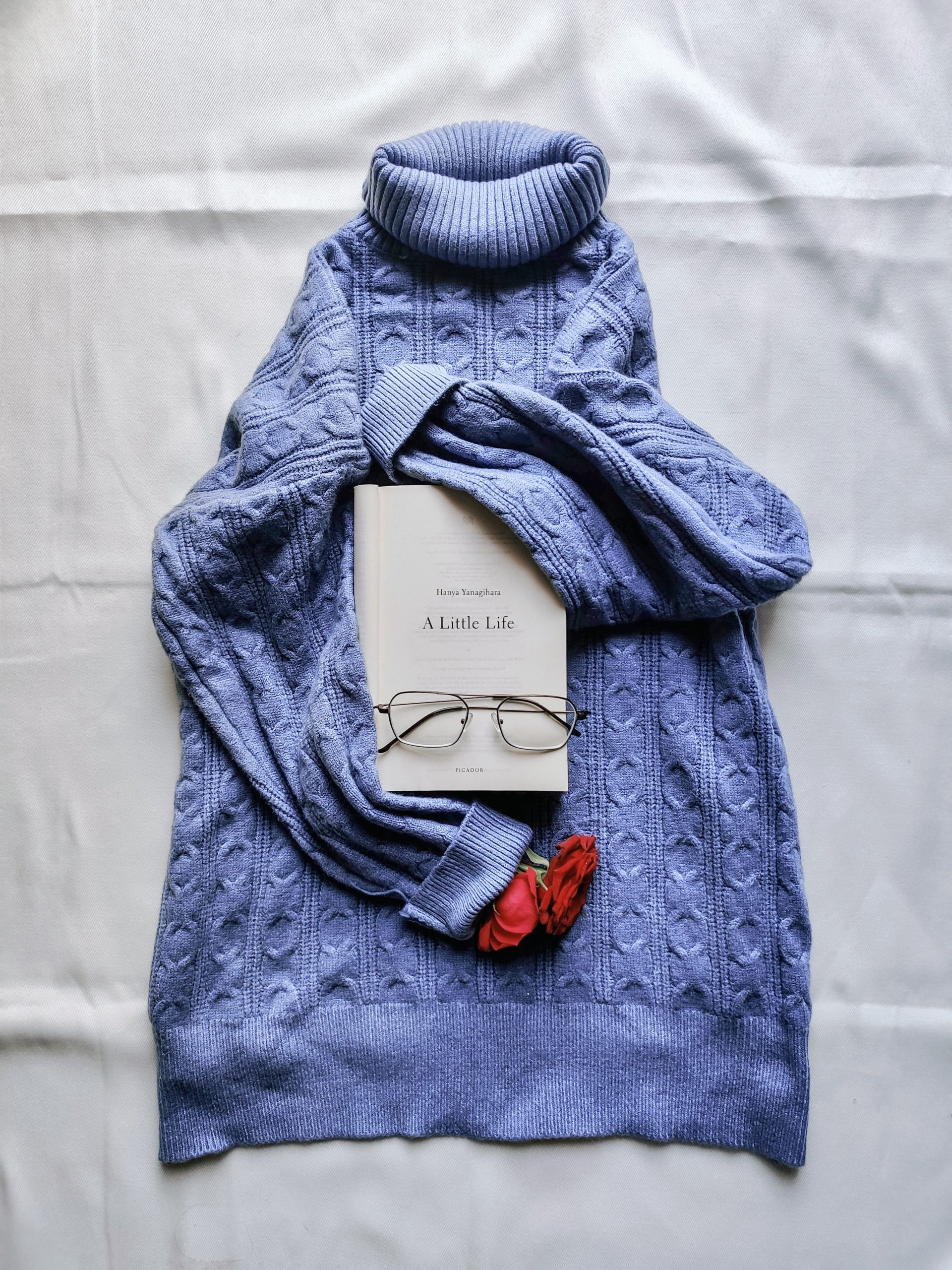 A book and sweat shirt