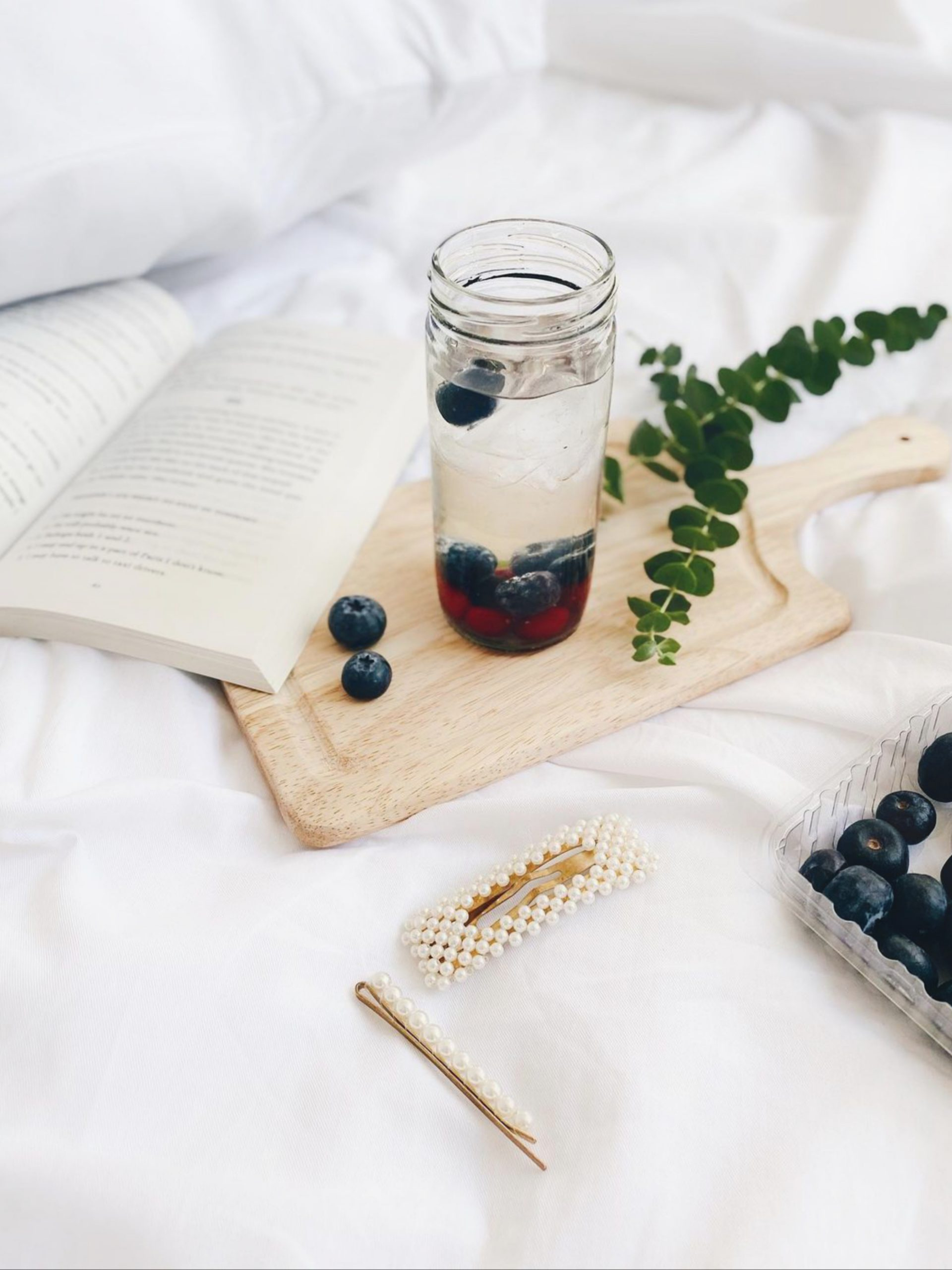 Books and berry flatlay