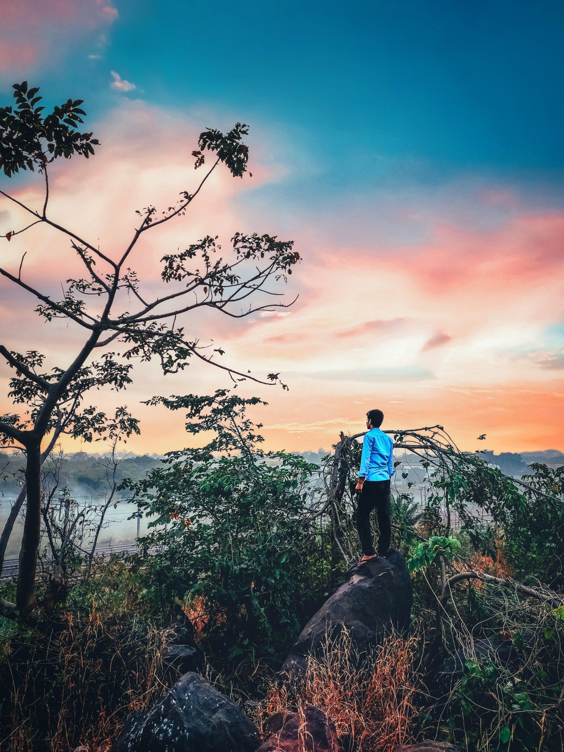 A boy on a hill