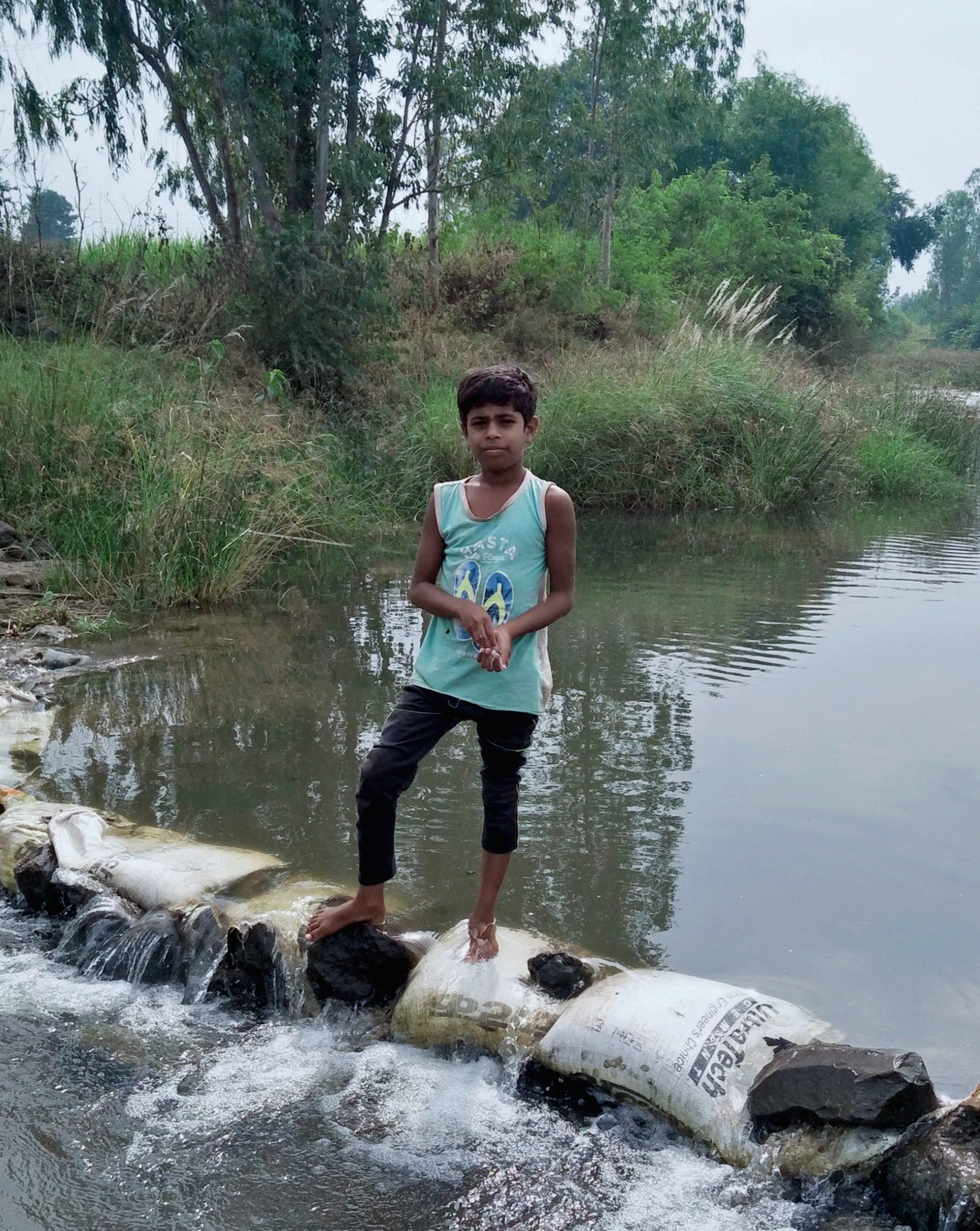 A boy in a river