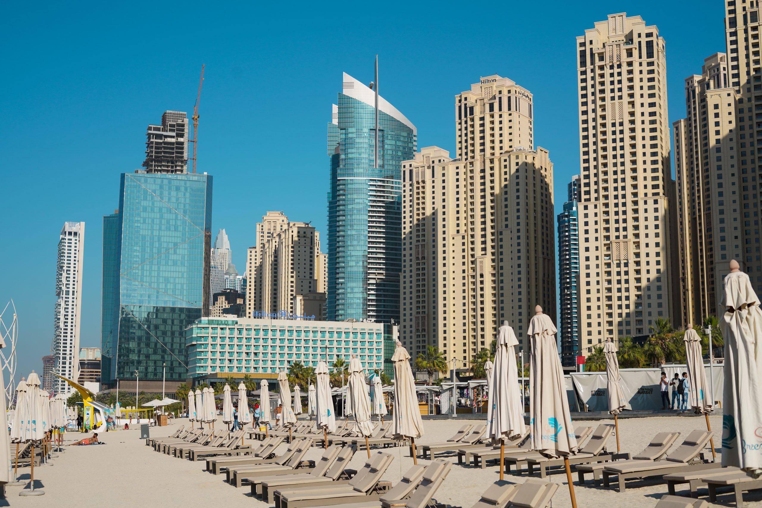 Buildings near marina beach in Dubai
