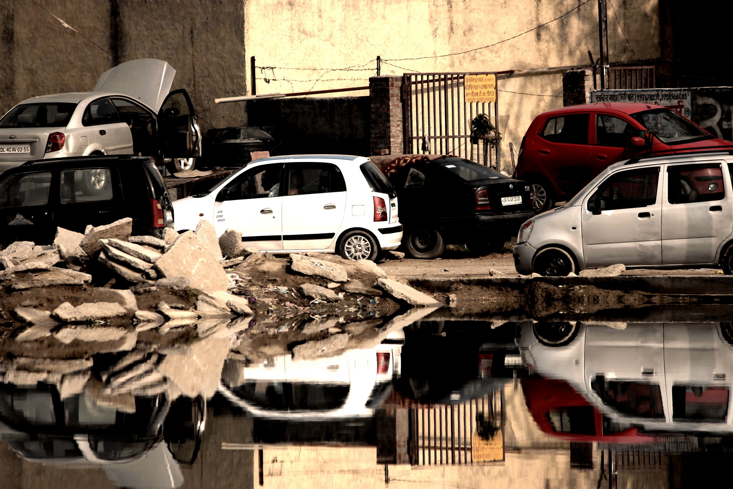 Cars reflection in water