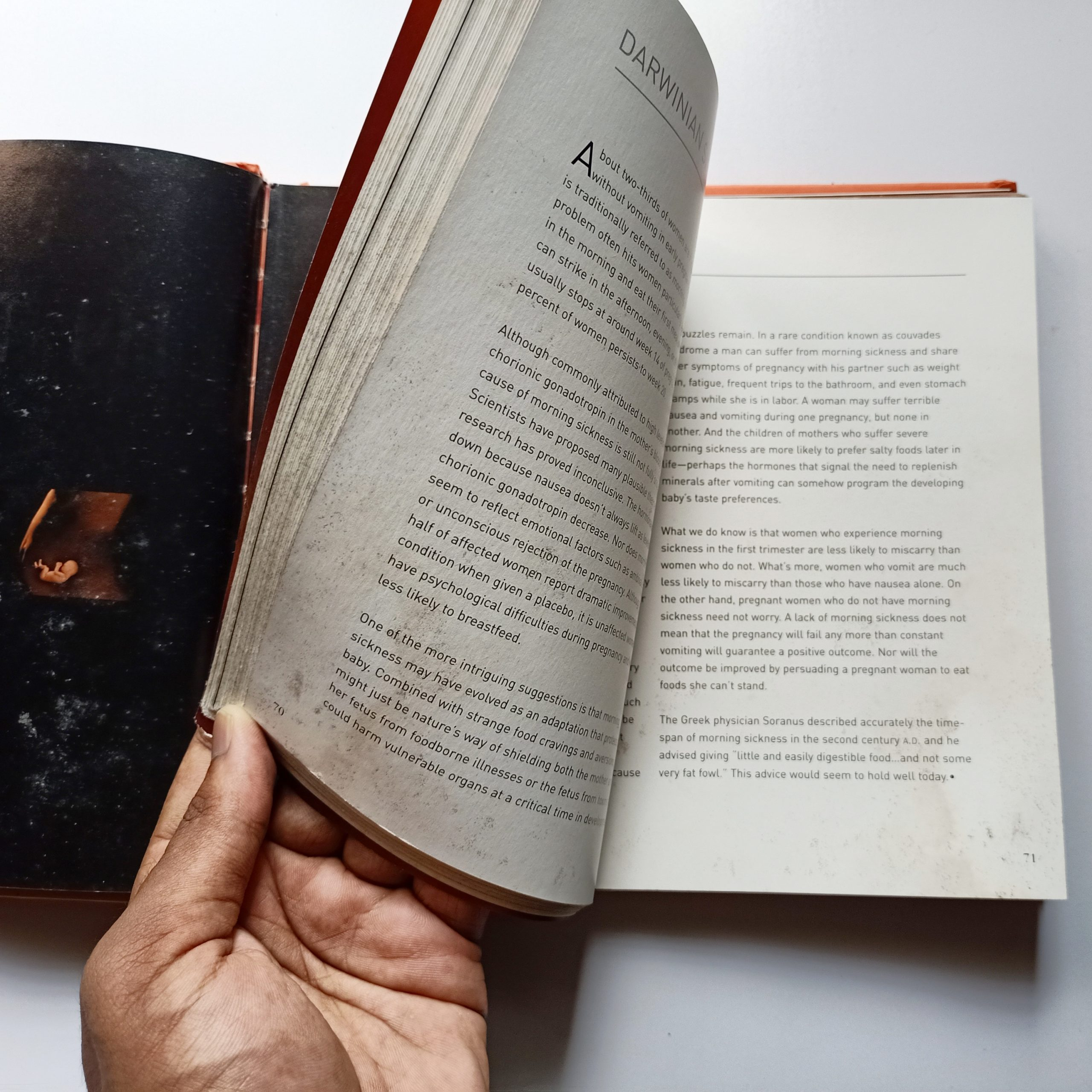 Hand changing the pages of a book
