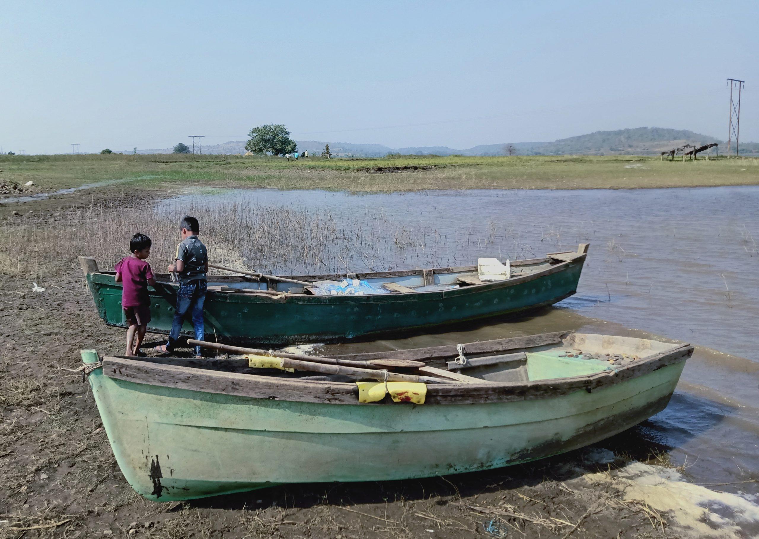 Children near boats