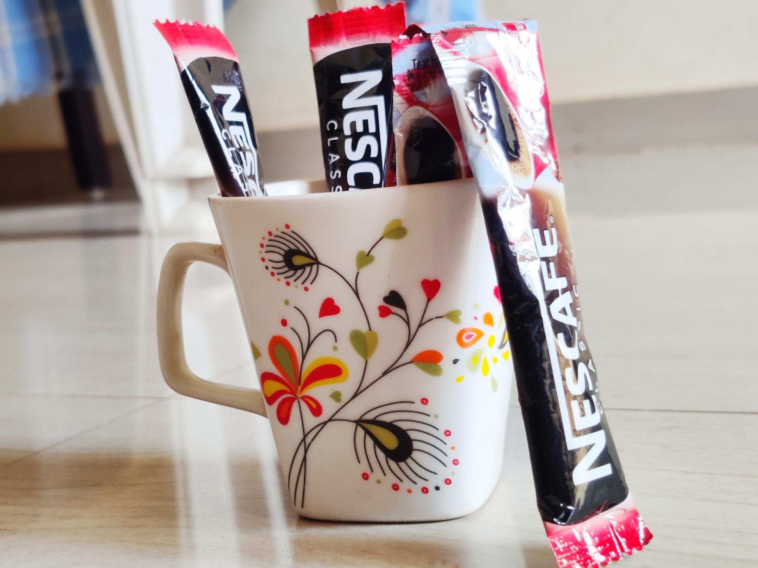 coffee sachets in a mug