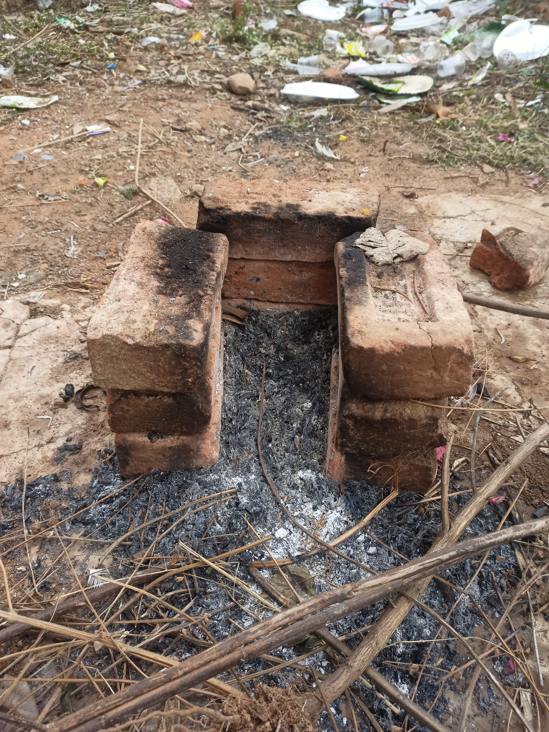 A stove made with bricks