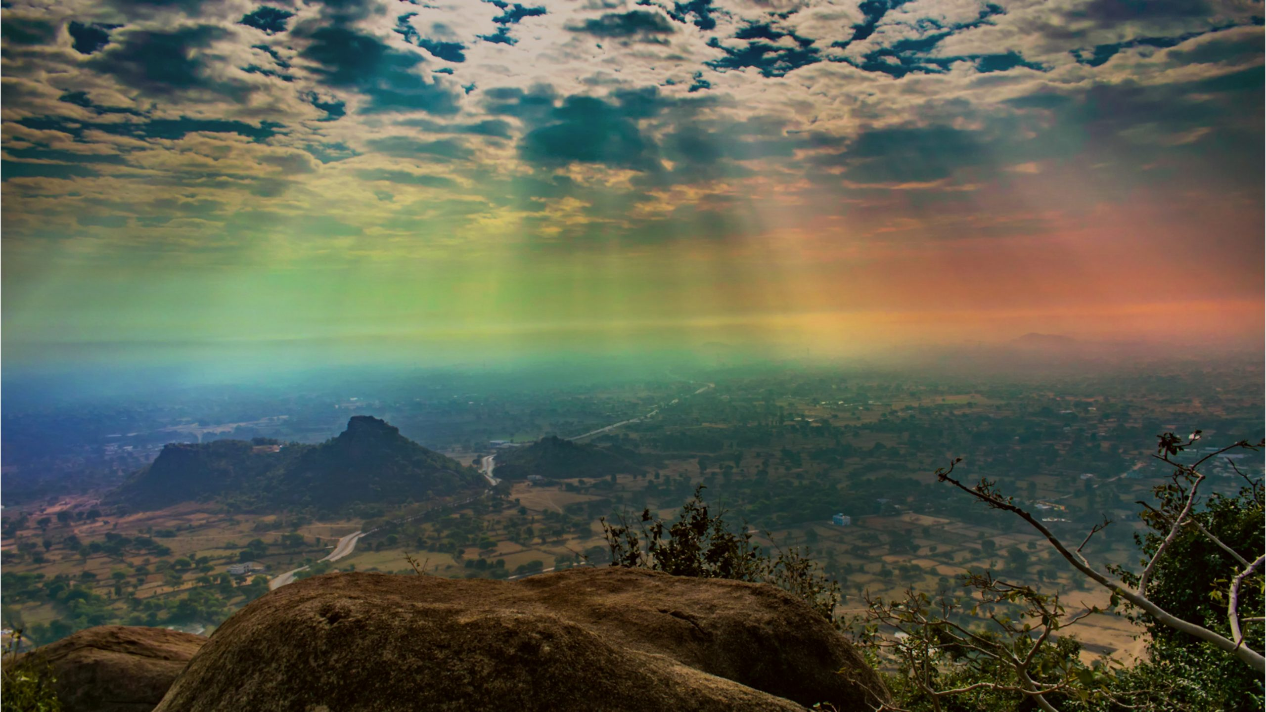 Landscape of a colorful rays of the city