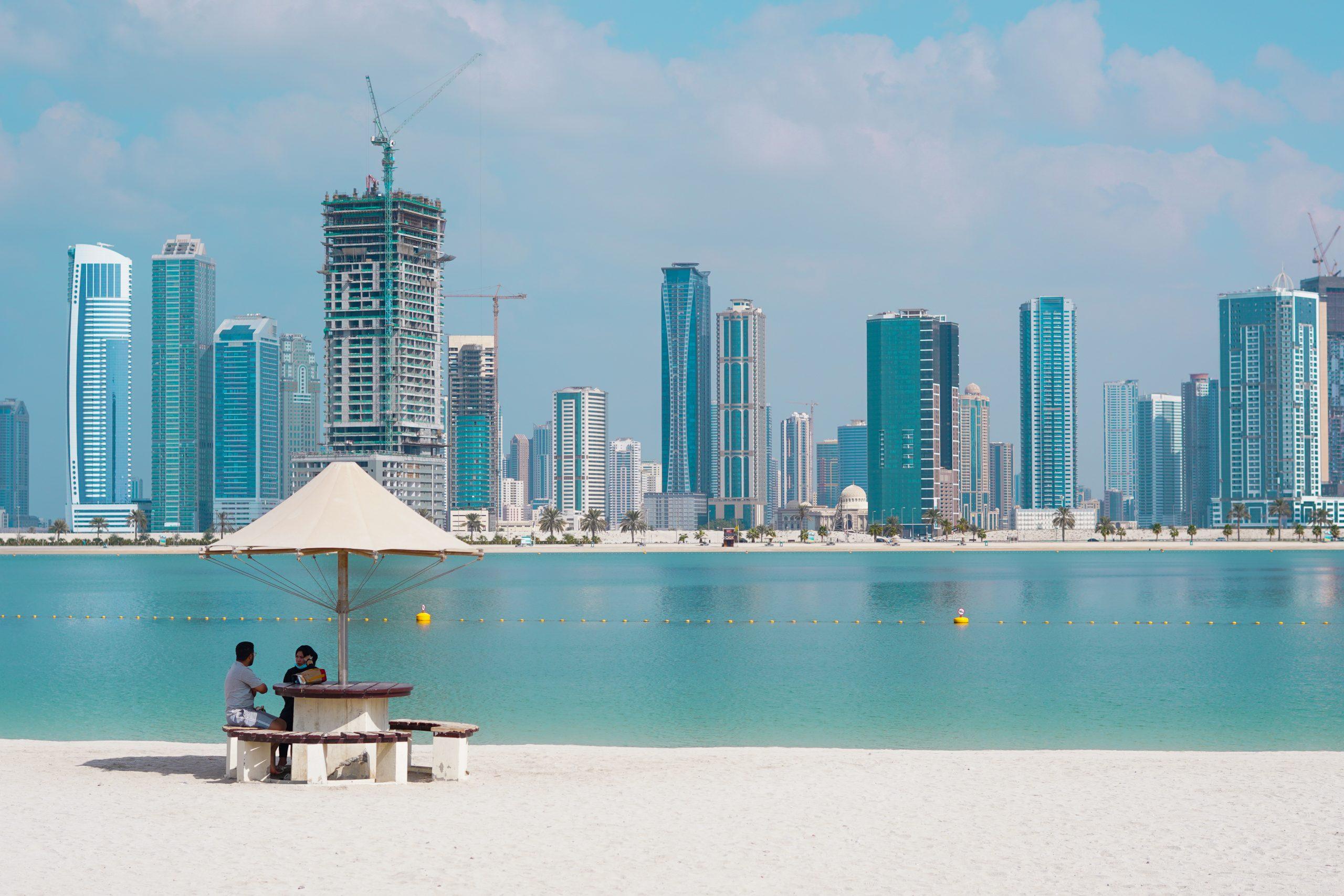 Dubai architecture and beach
