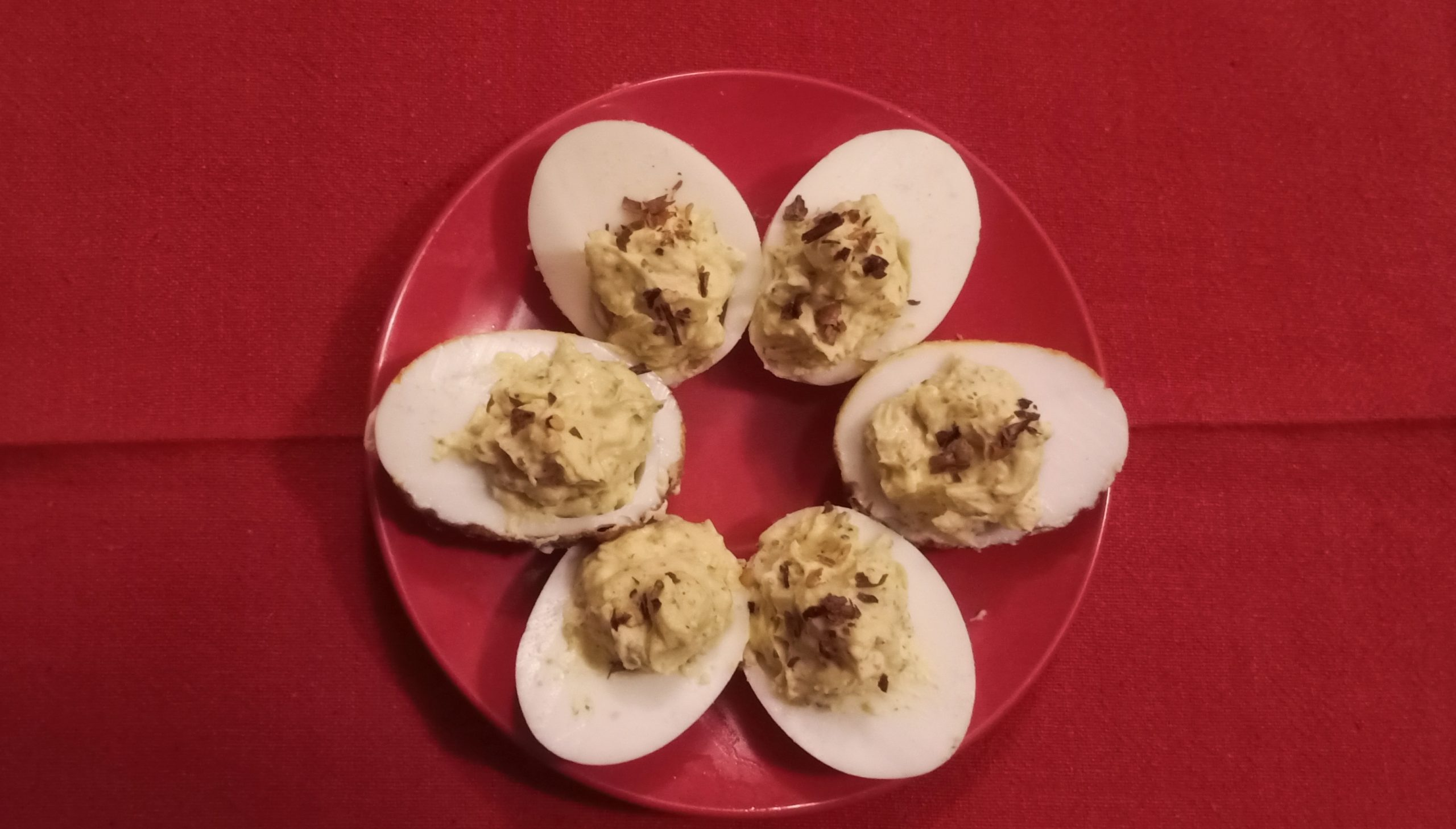 Edible egg pieces in a plate