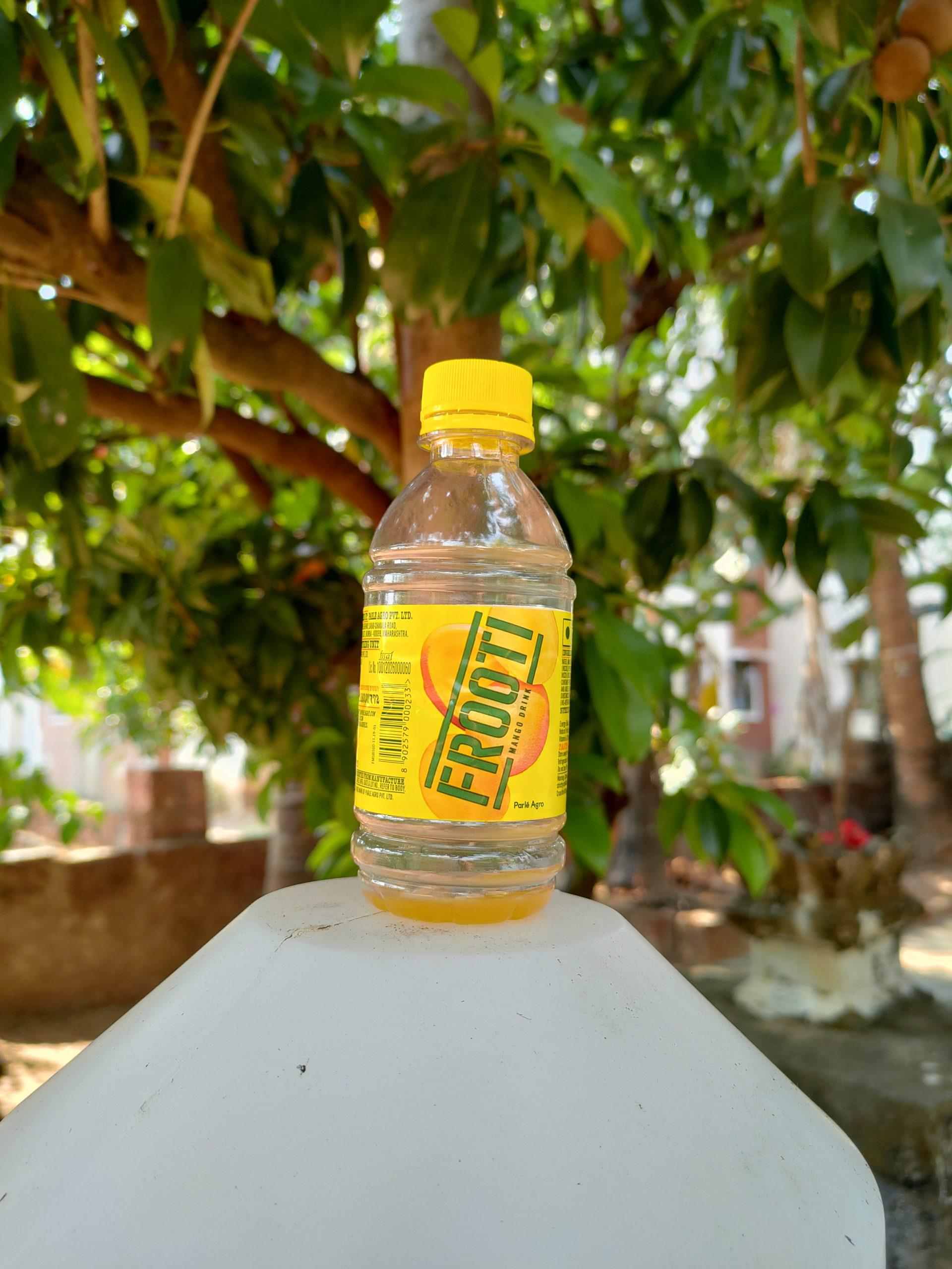 An empty fruit bottle
