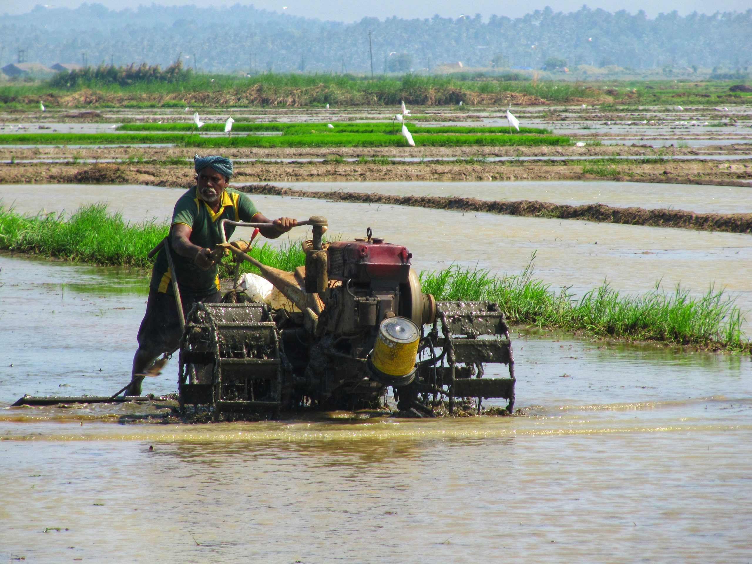 A farmer with a machine in his field
