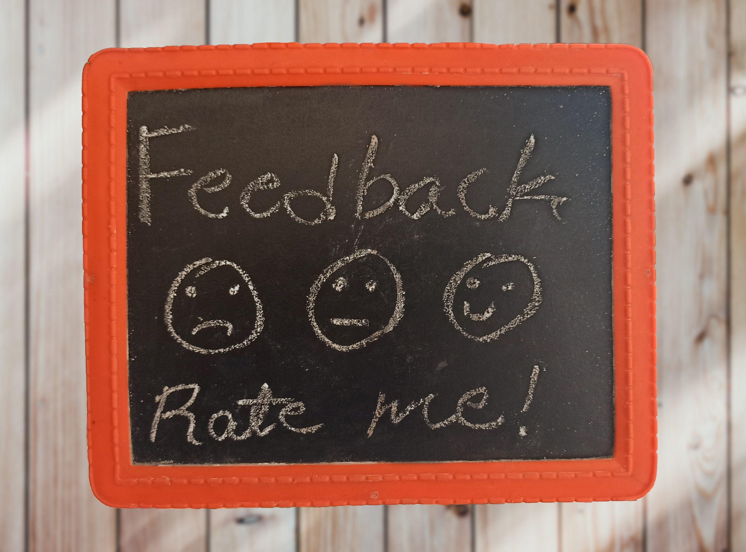 Feedback written on a black board