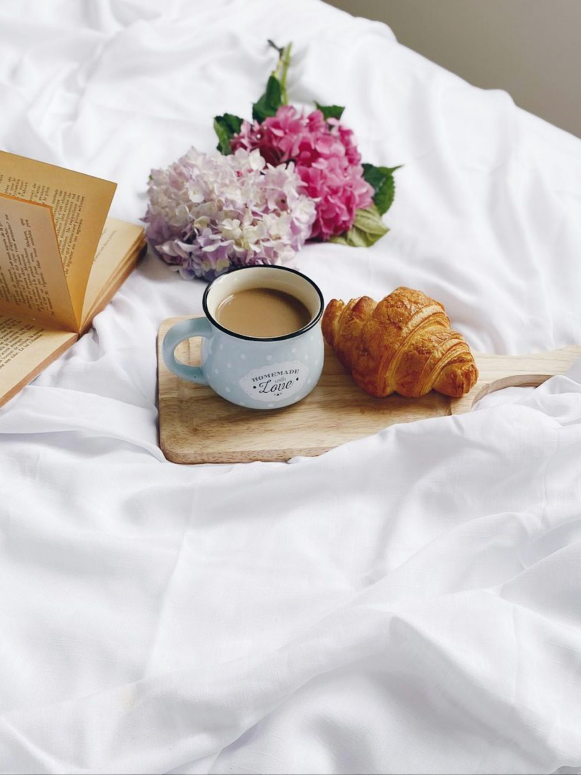 Breakfast with book and flower on bed