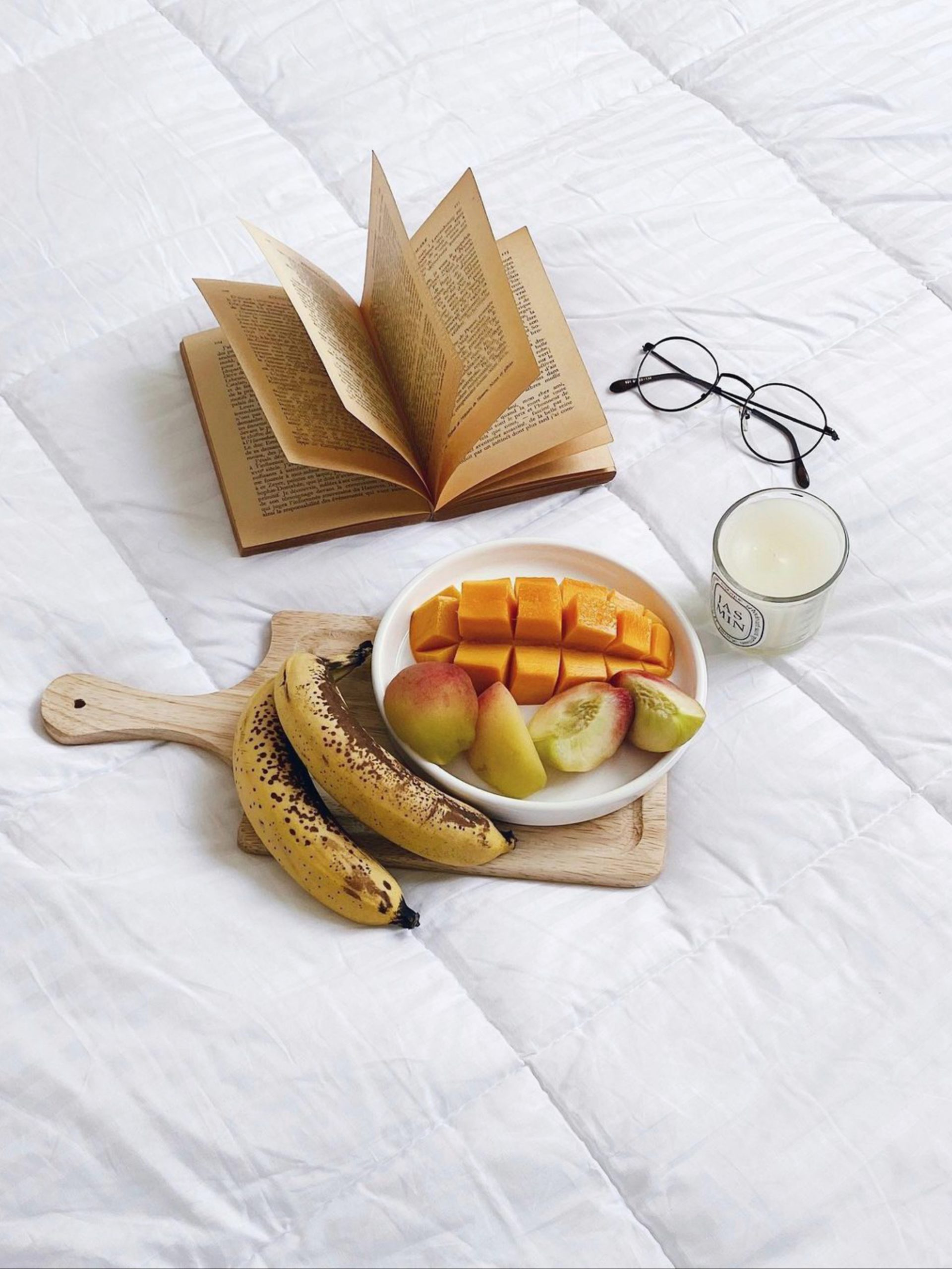 Fruits and a book