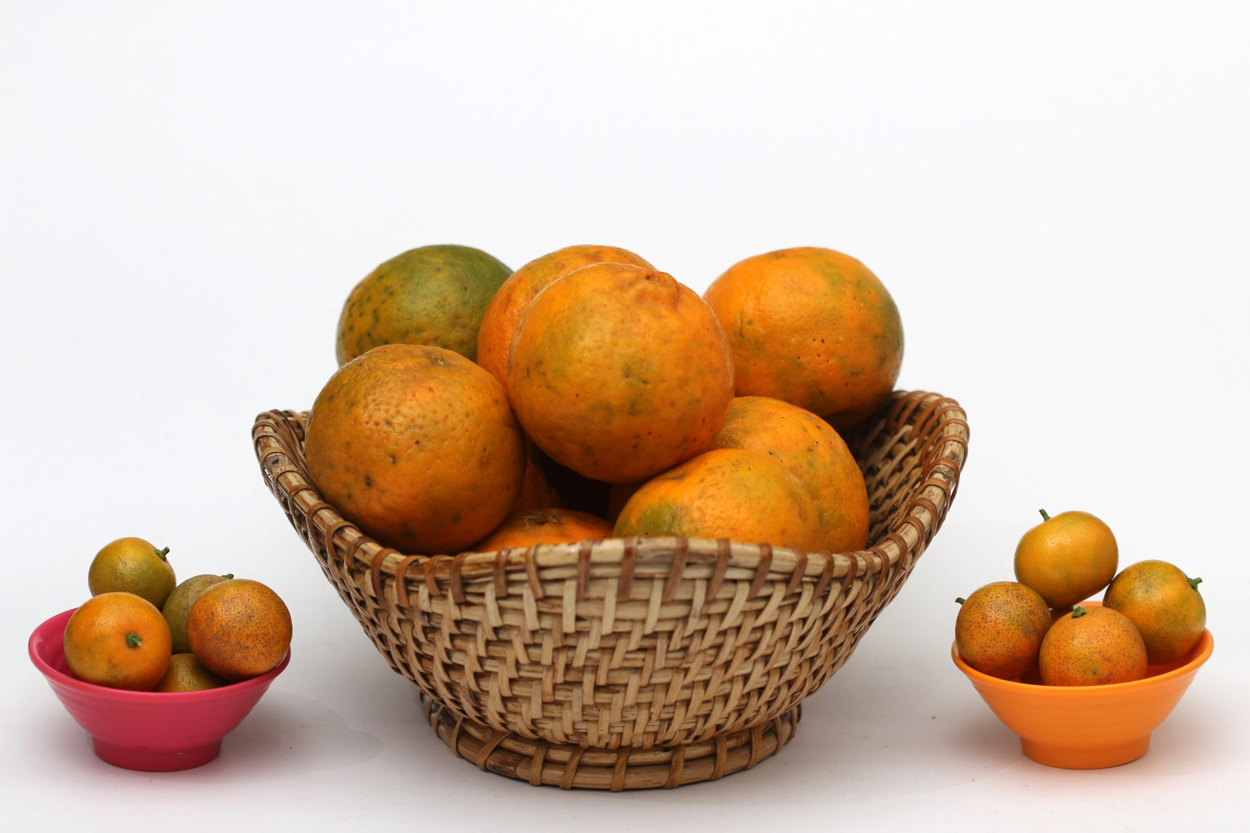 Fruits in a basket and bowls