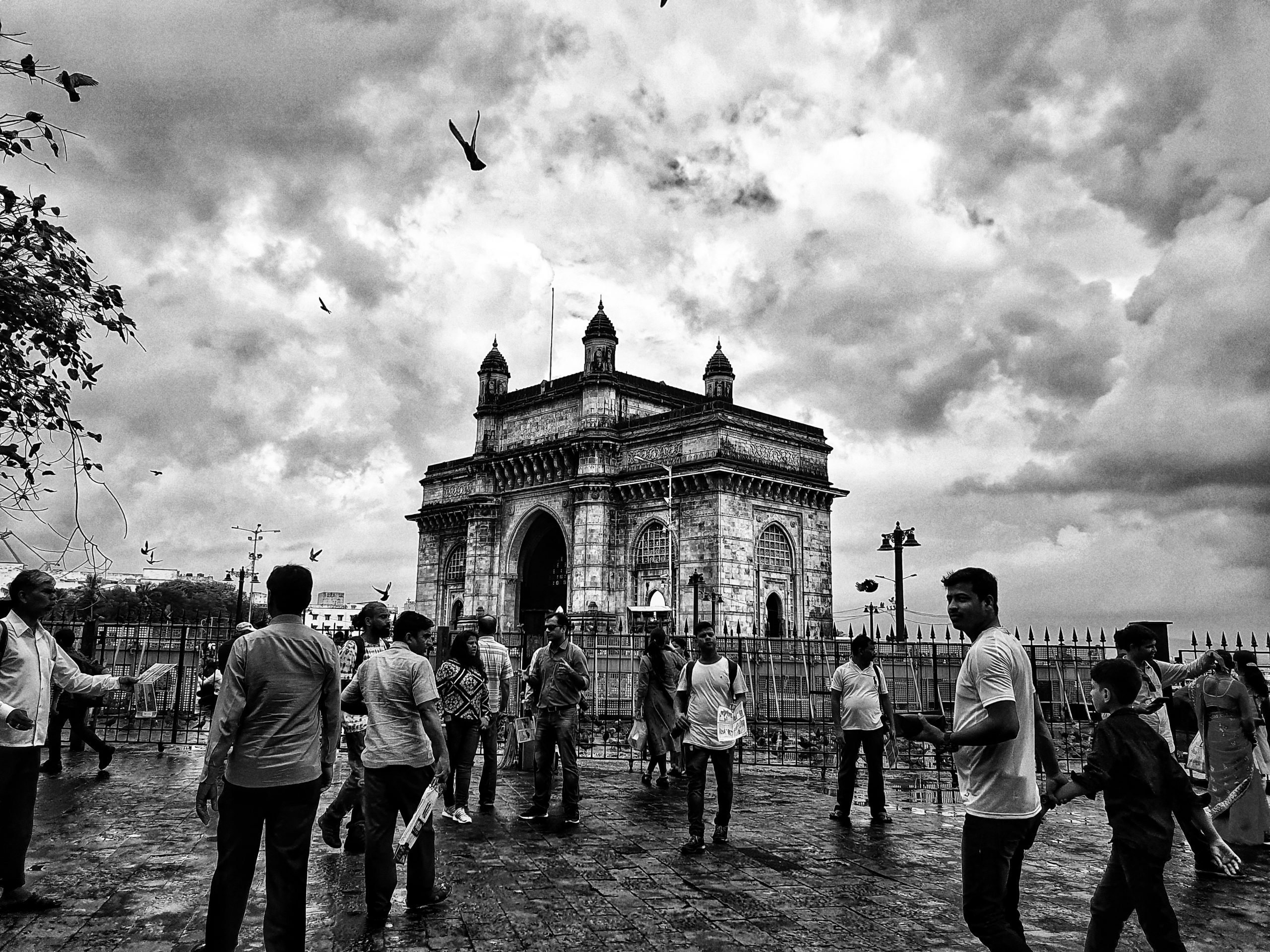 people at the Gateway of India