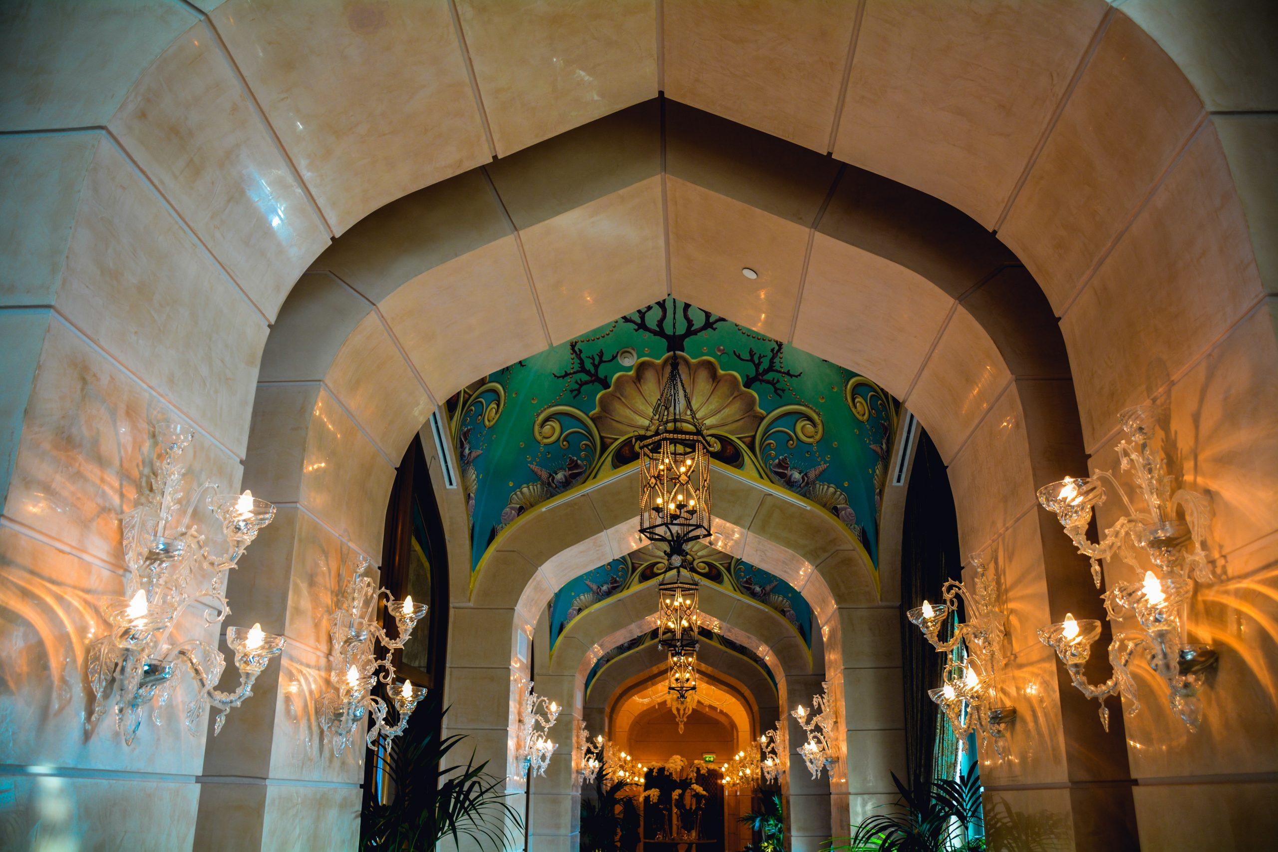 Interior decorative lights of a building