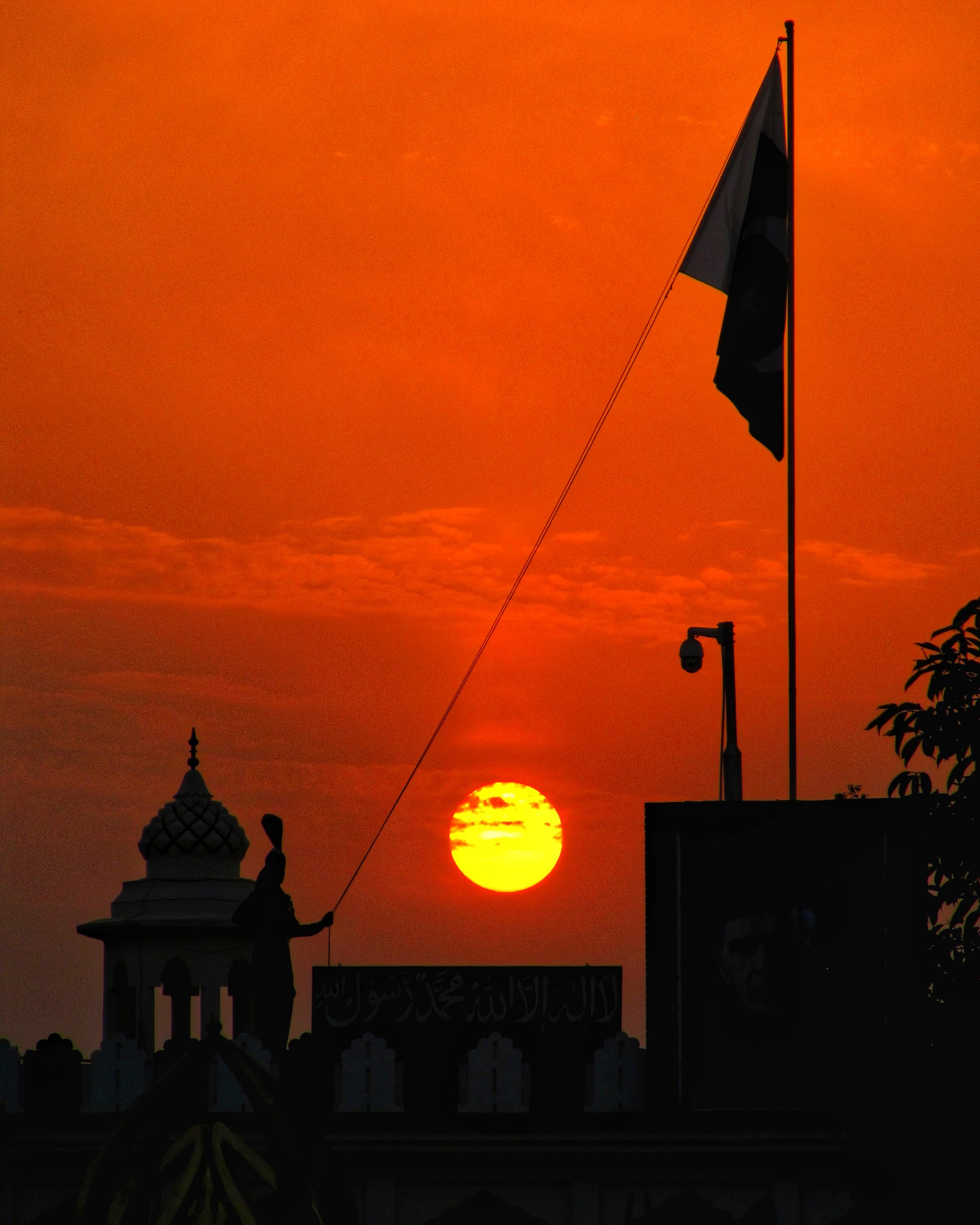 Indian flag being lowered in evening