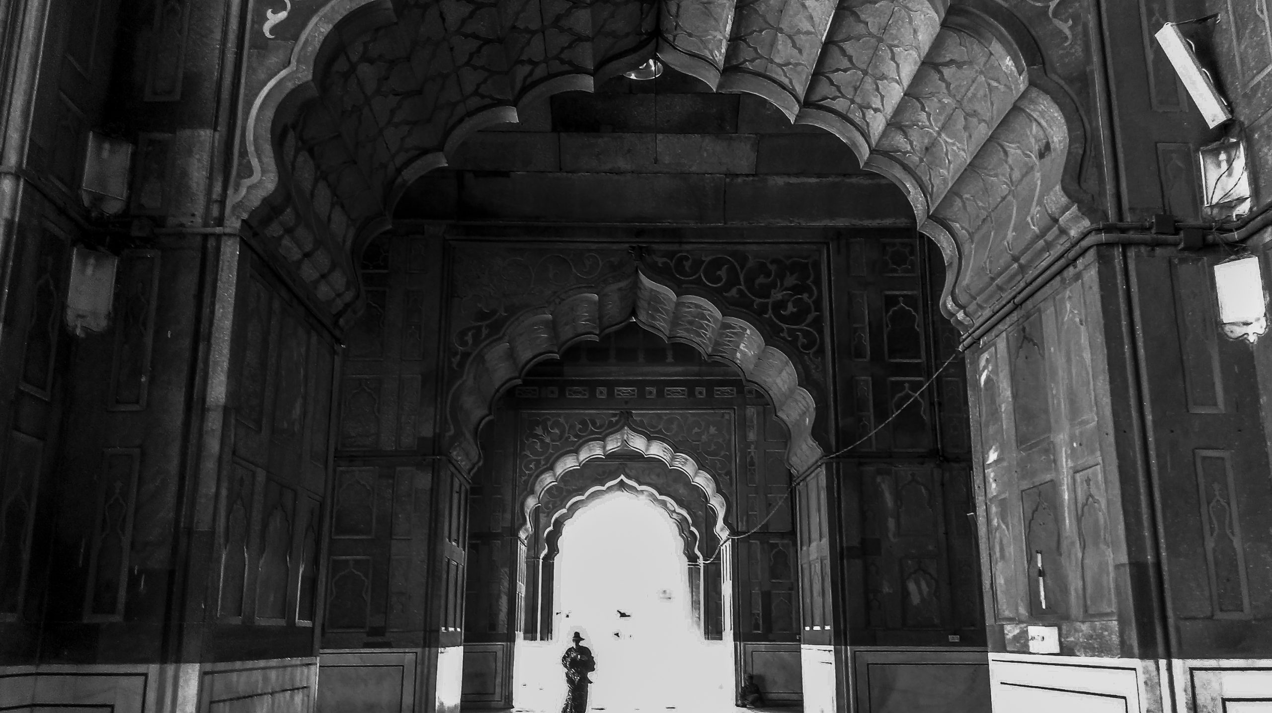 Interior of Jama Masjid in Delhi