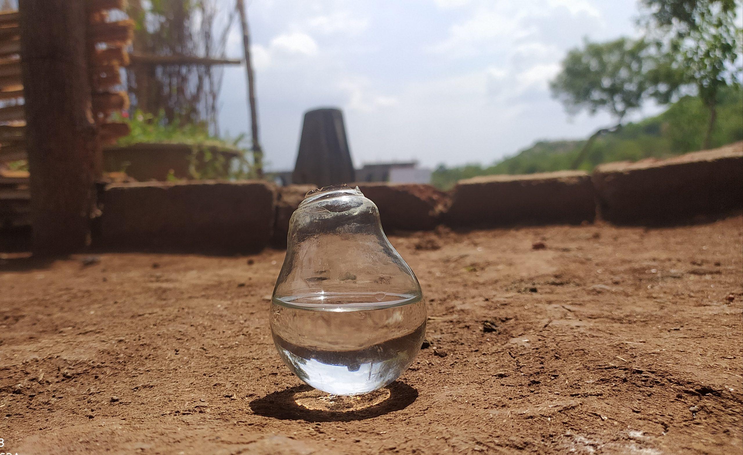 Water in broken bulb