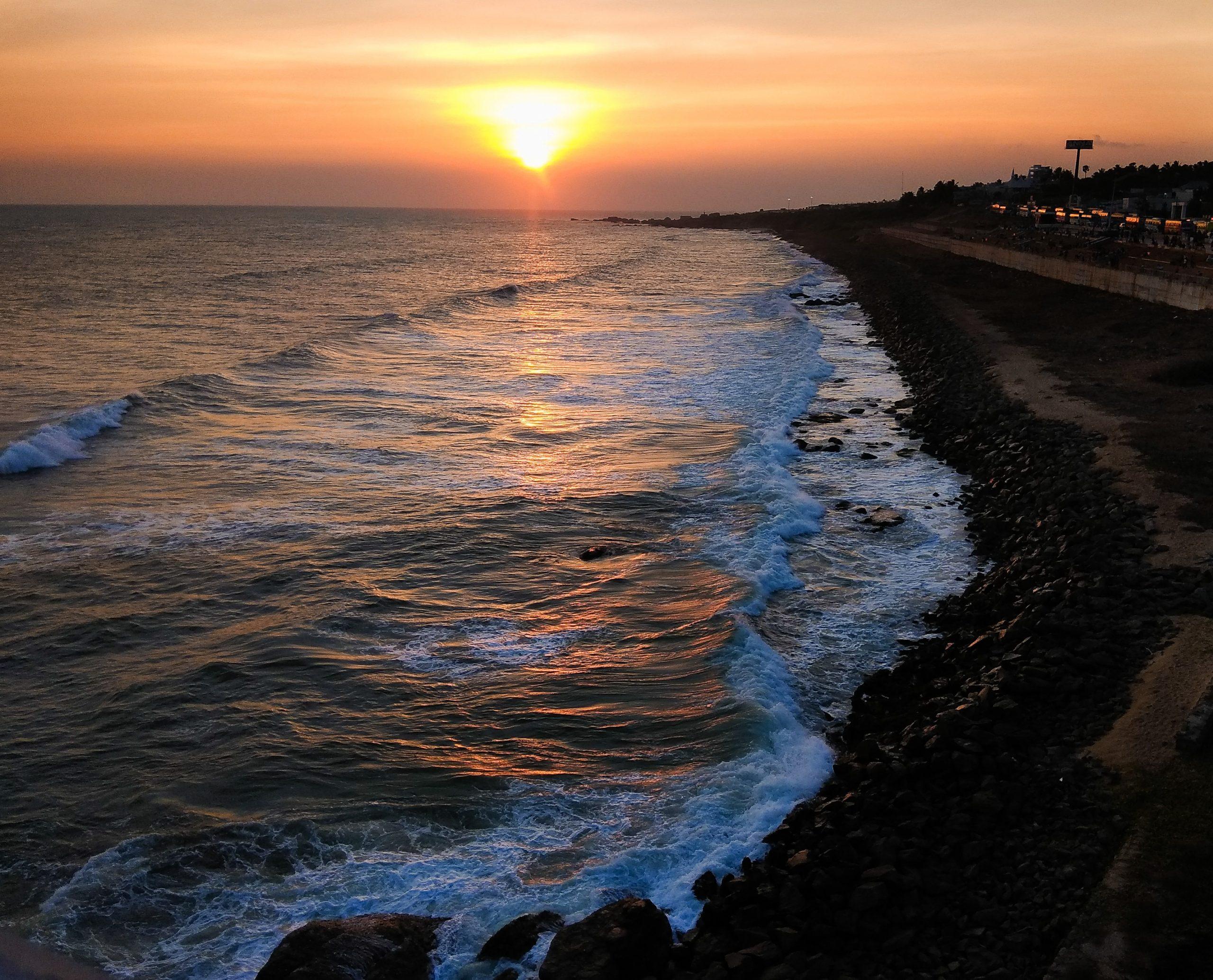 Kanyakumari Beach during sunset