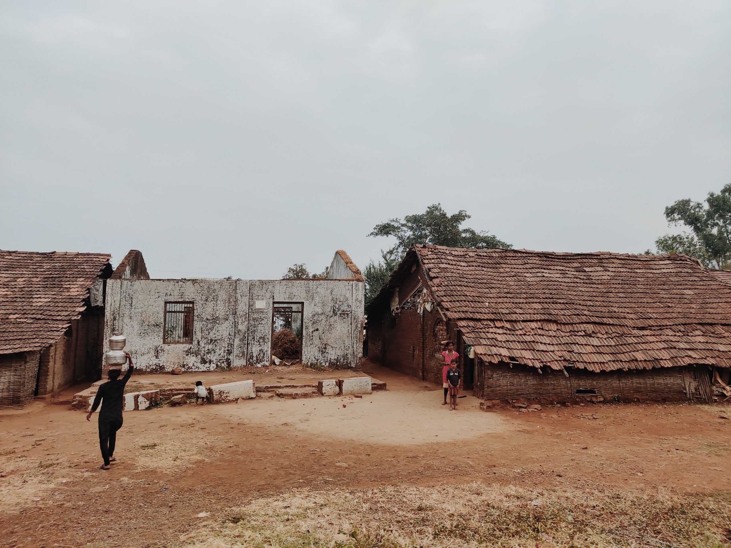 Kids and houses of a village
