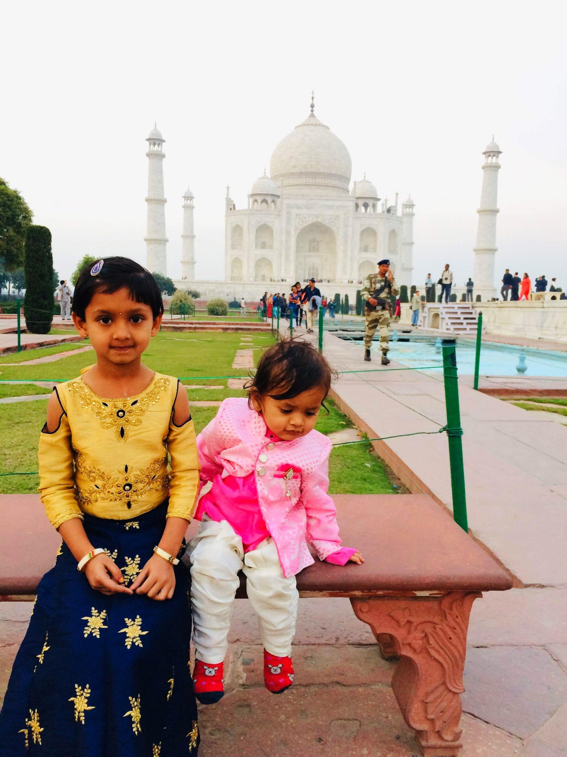 Kids at Taj Mahal complex