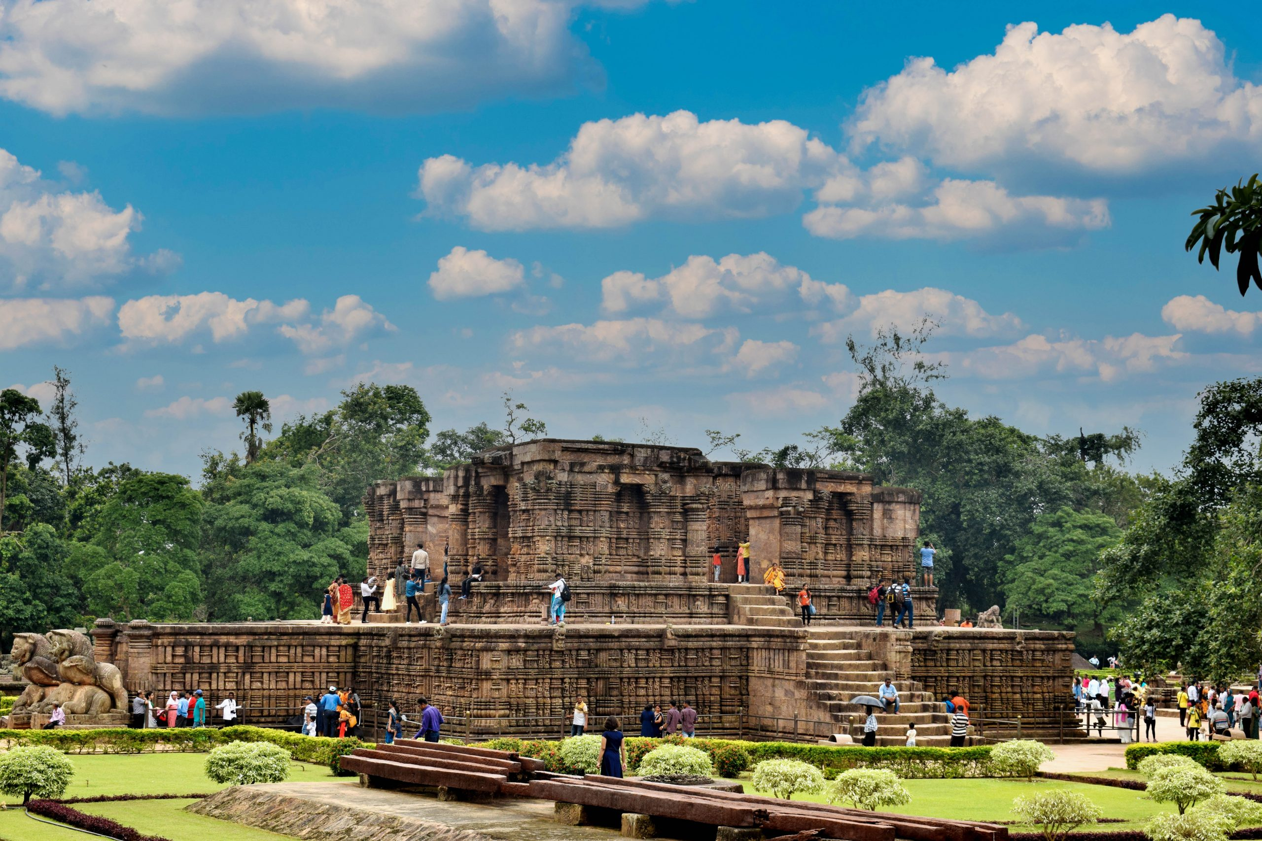 People at Konark Sun temple in Odisha