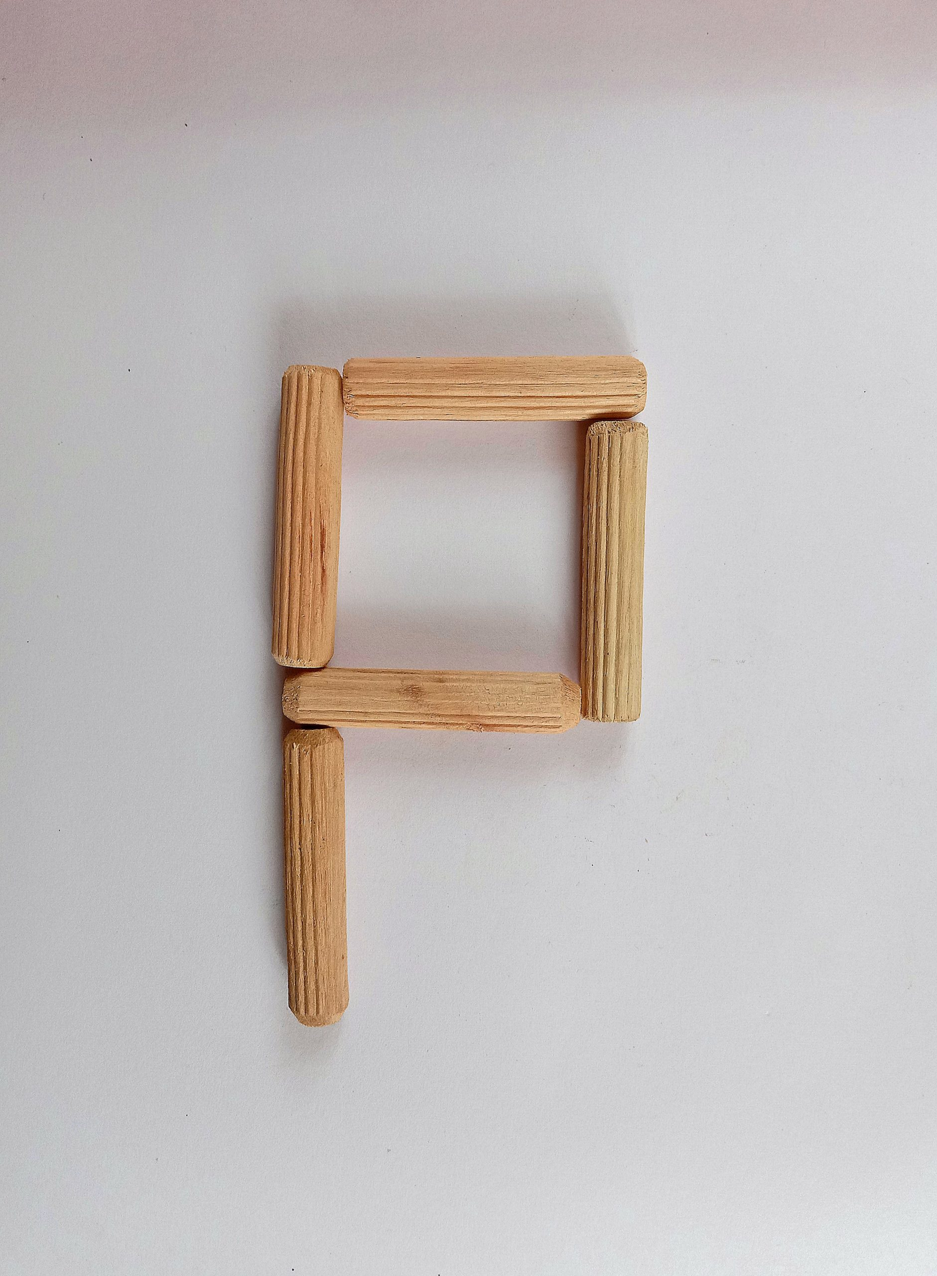 letter p with sticks