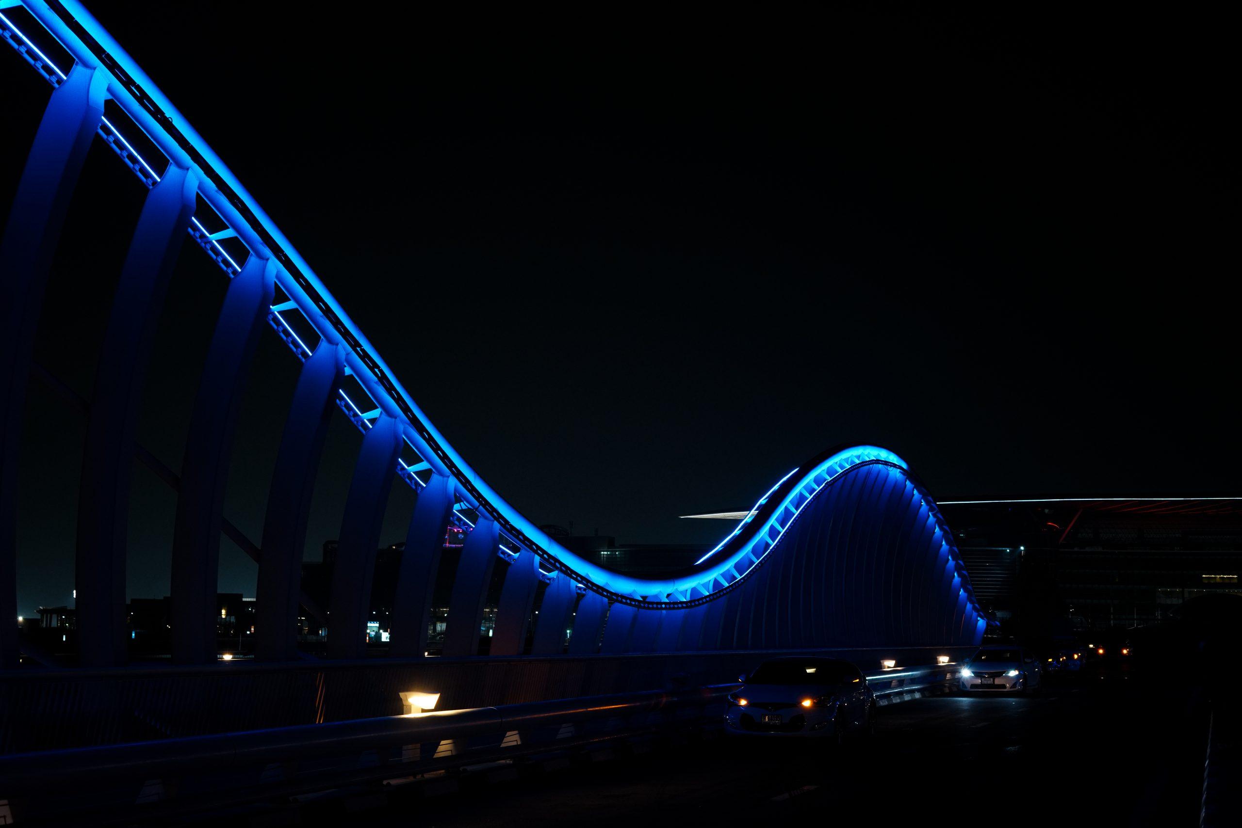 Lighting of a bridge in Dubai