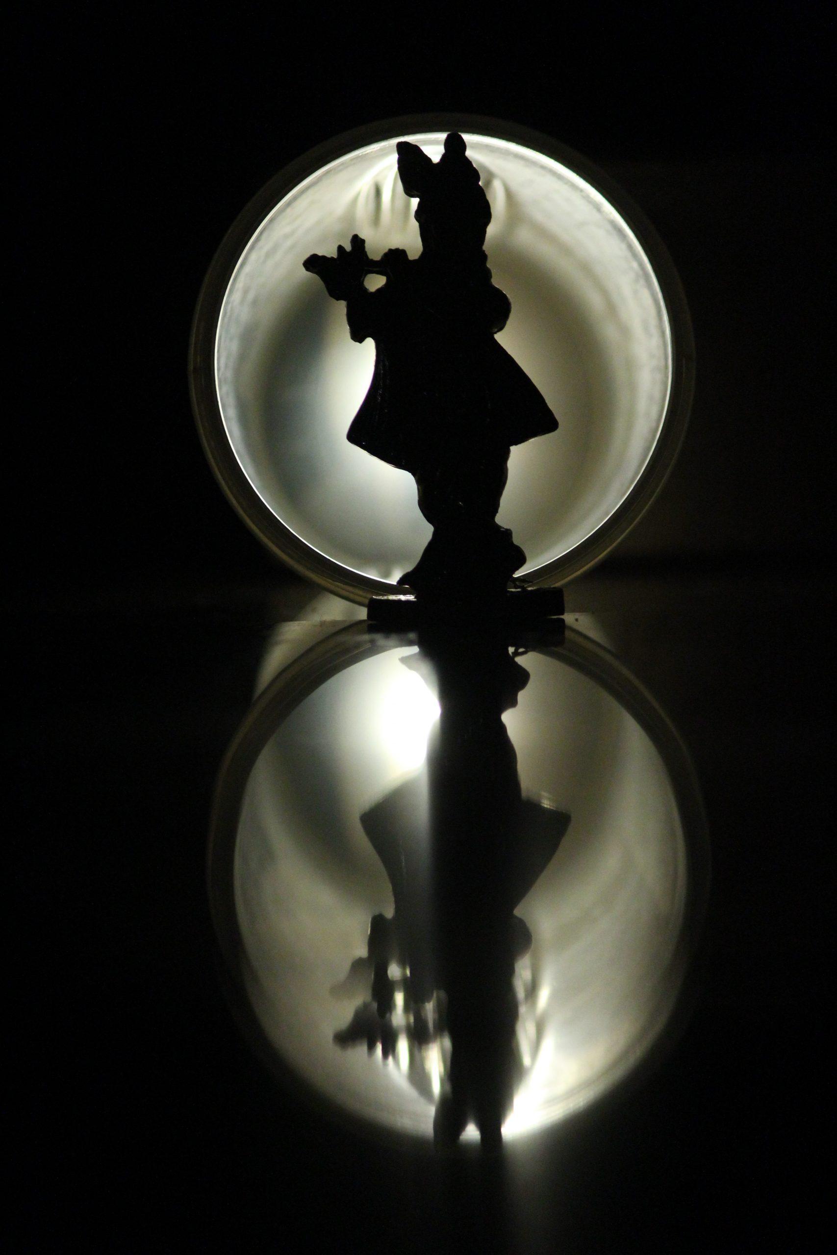 Lord Krishna statue in darkness