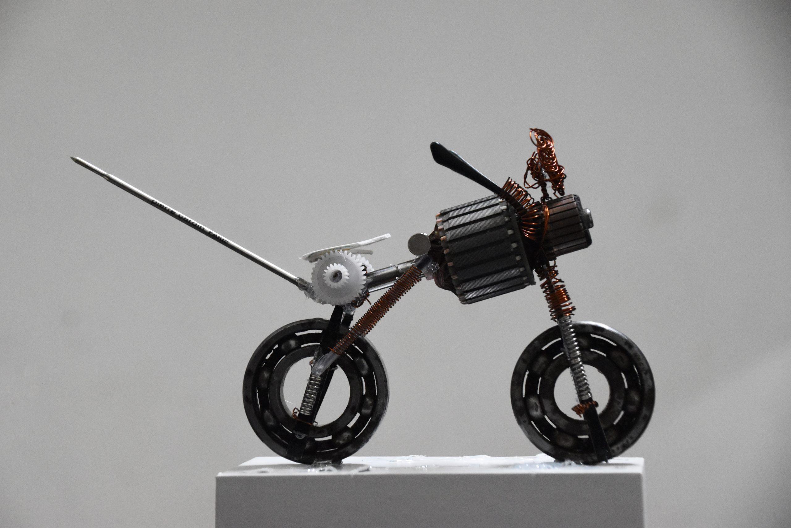 A custom bike made with gears and bearings