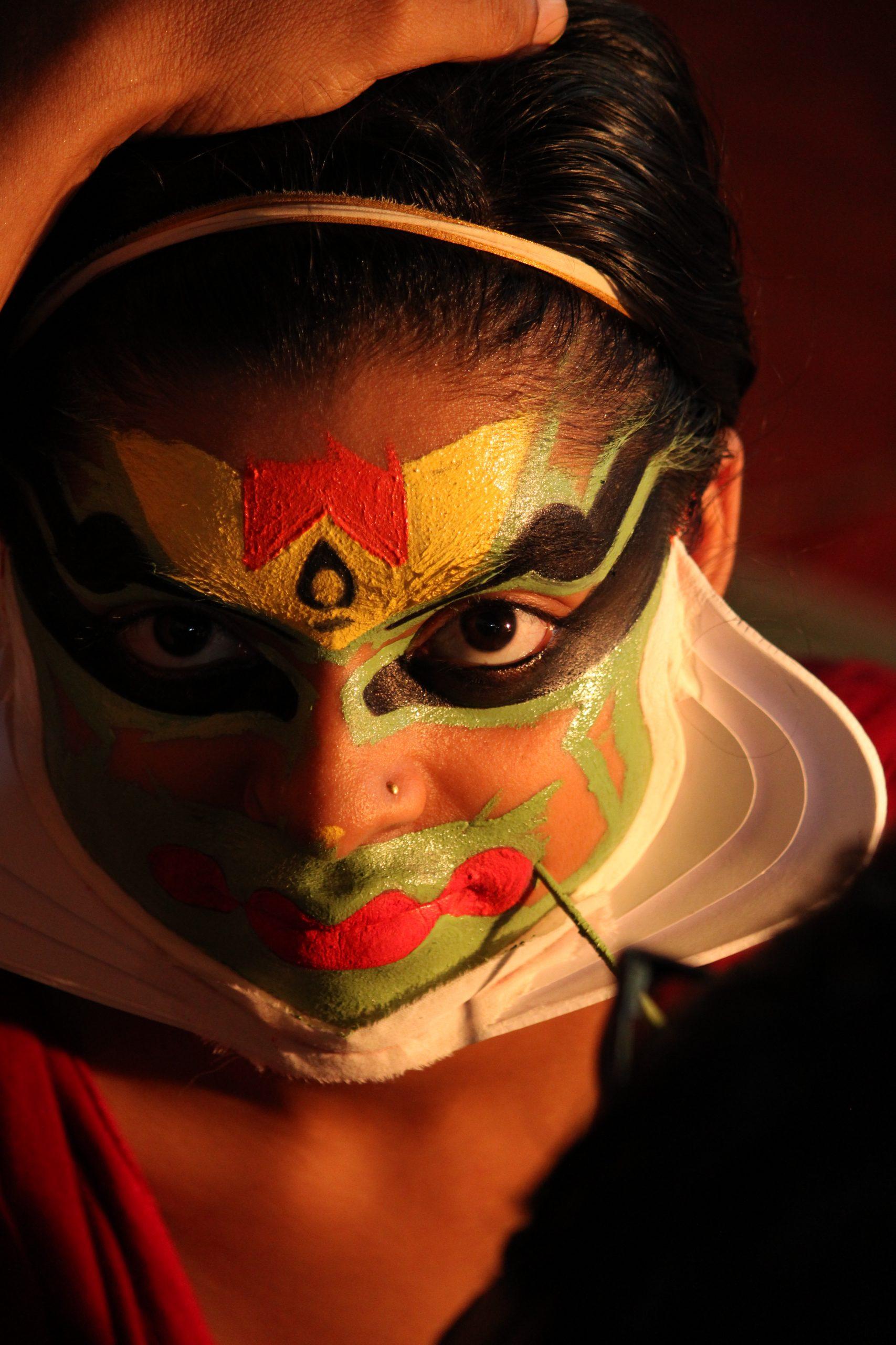 Makeup of a Kathakali dancer