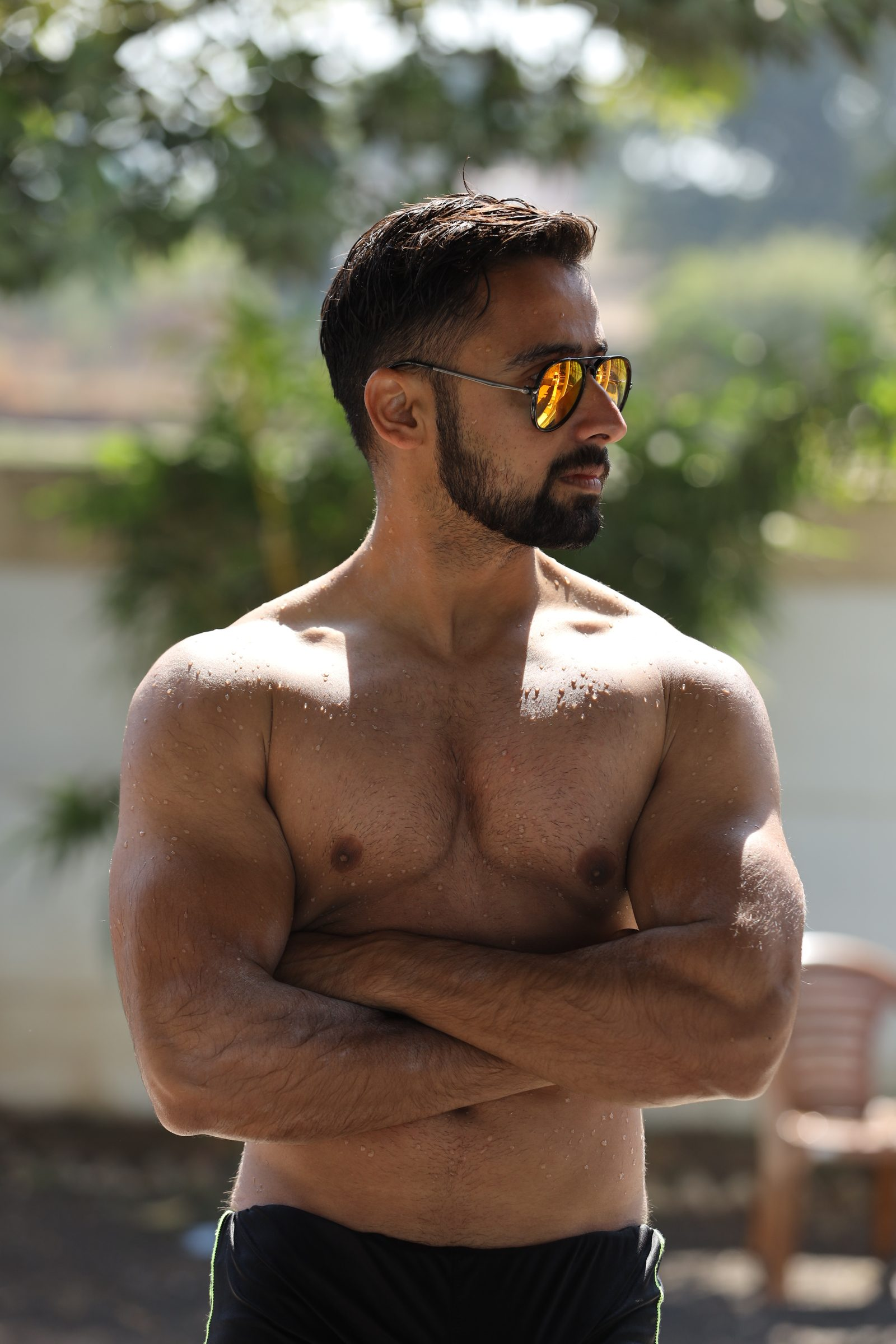 Male physique pose
