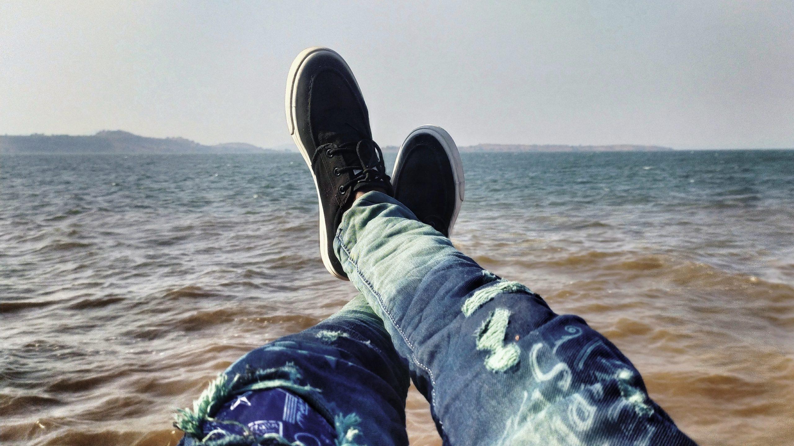 Man capturing sea view