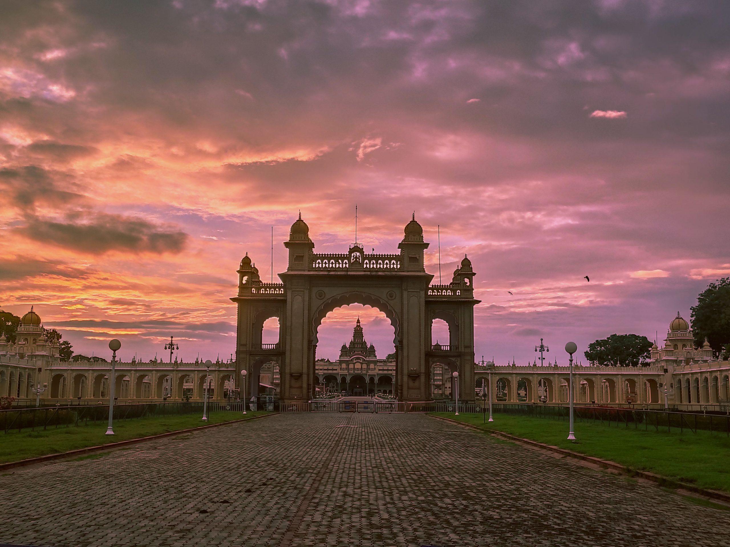 Indian Palace and Pink Sky
