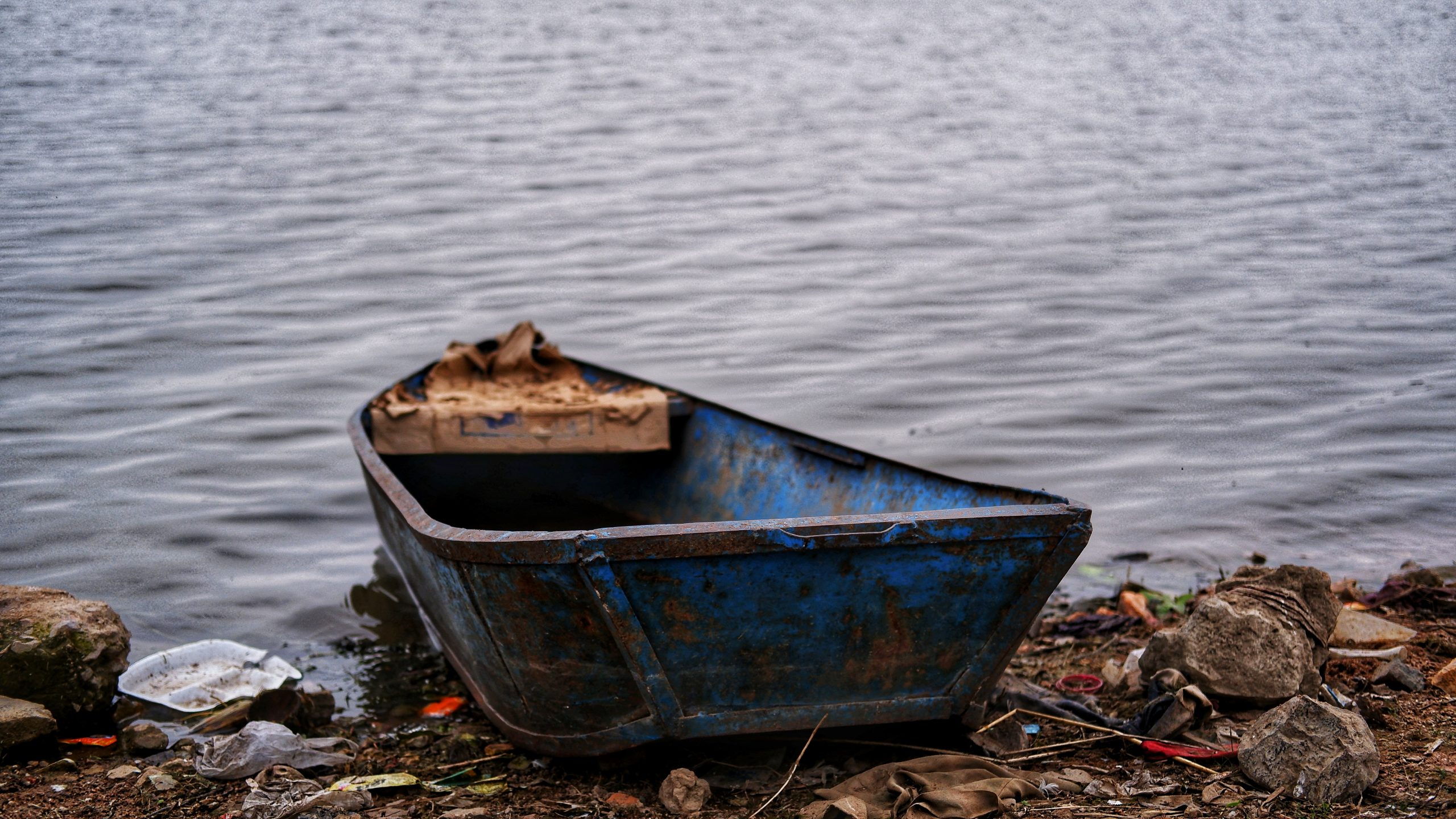 a boat on the shore