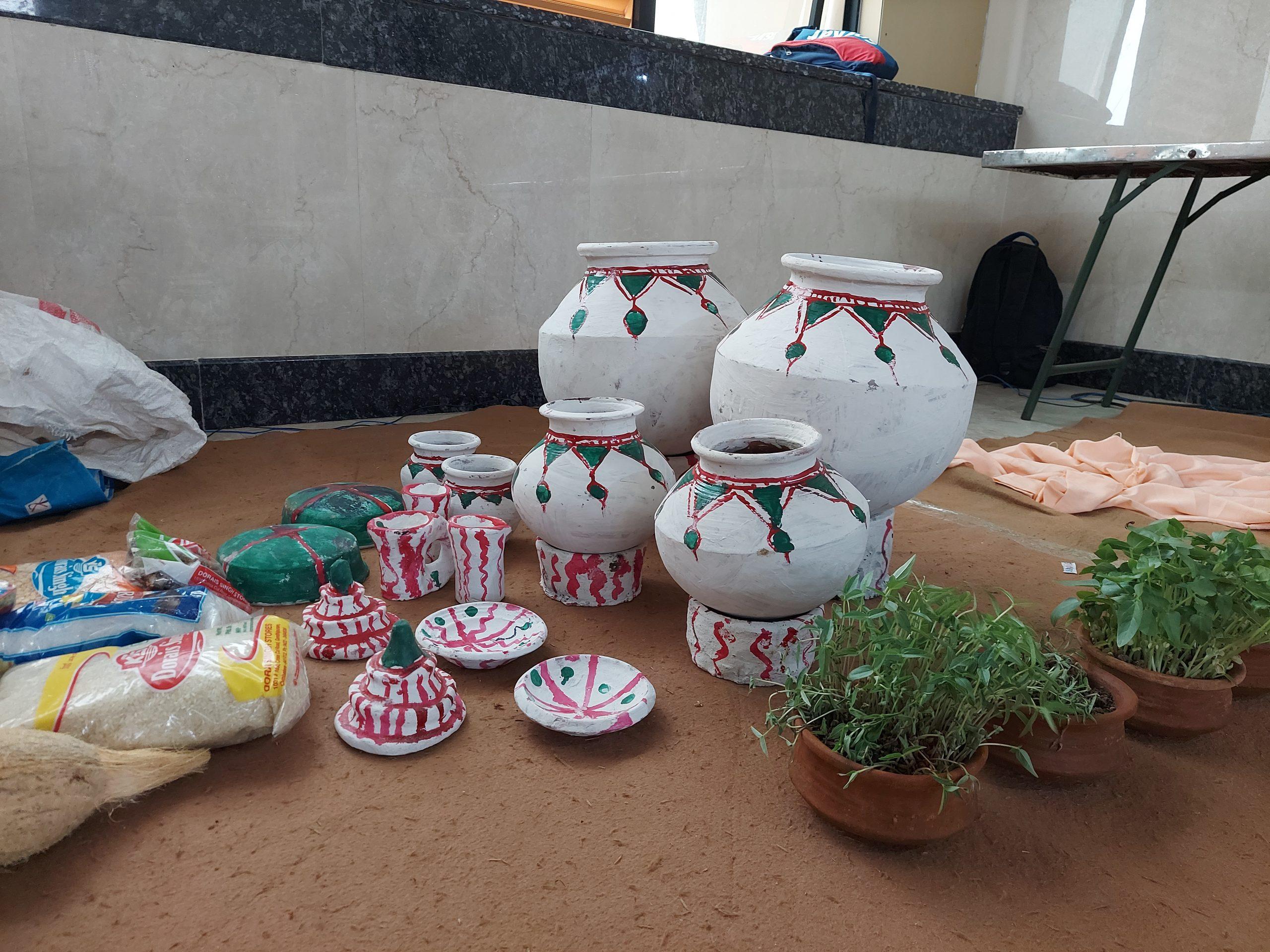 painted earthen pots