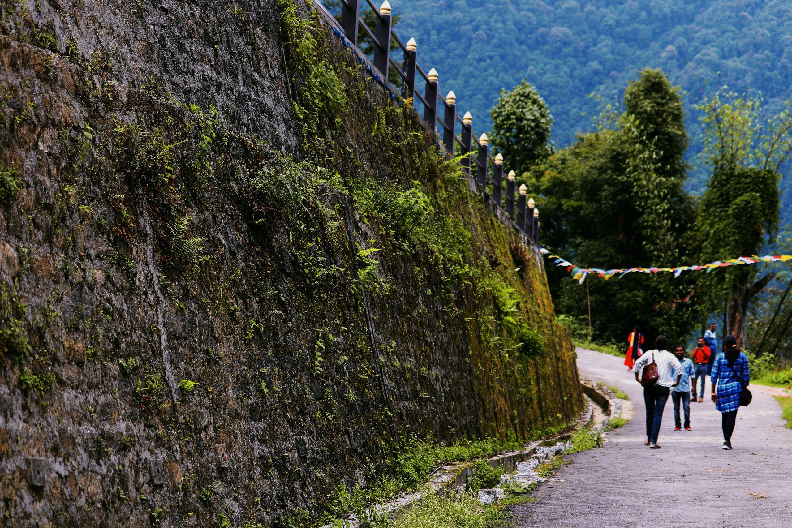 Girl walking along a big wall