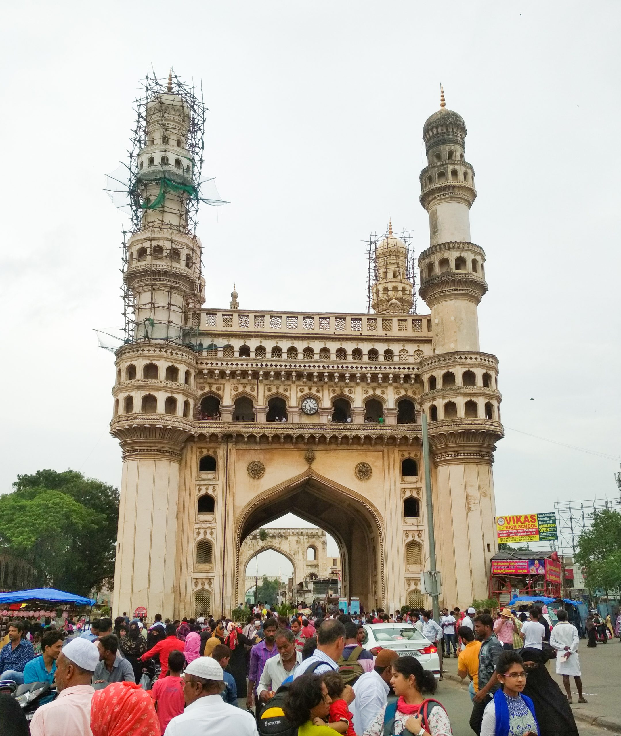 People at Char Minar in Hyderabad