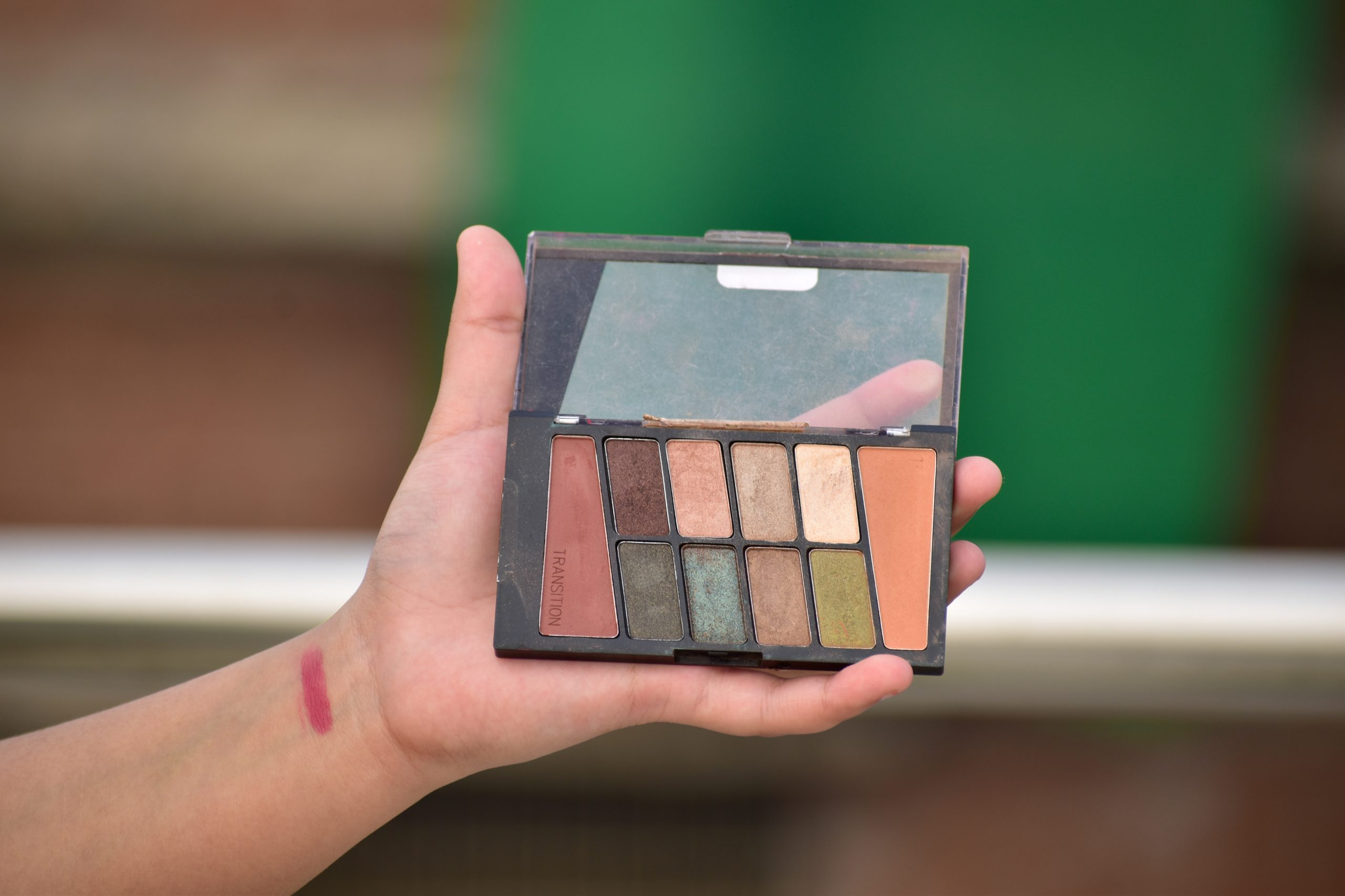 Person holding Eyeshadow palette