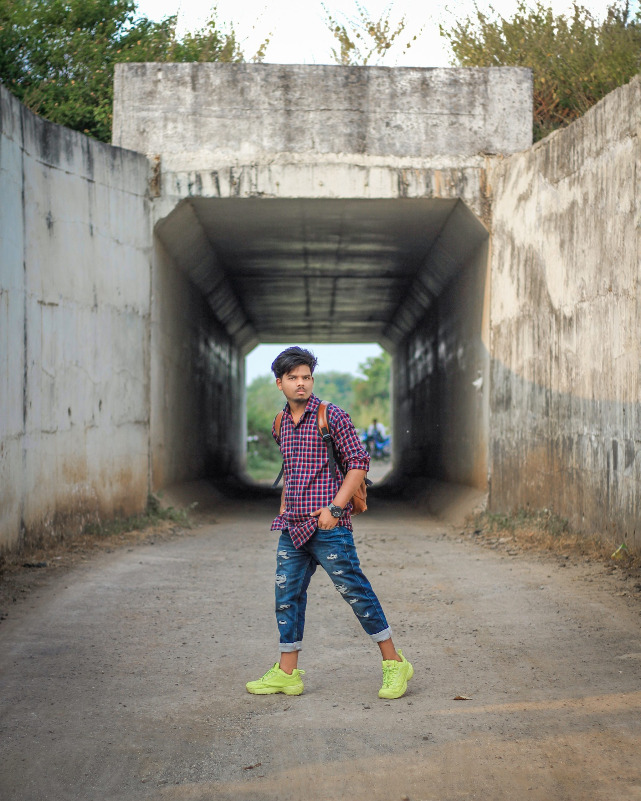 A boy on a narrow road