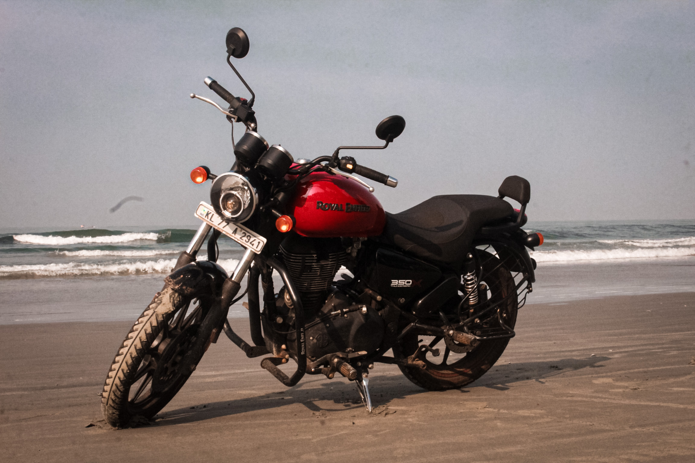 motorbike on the beach side